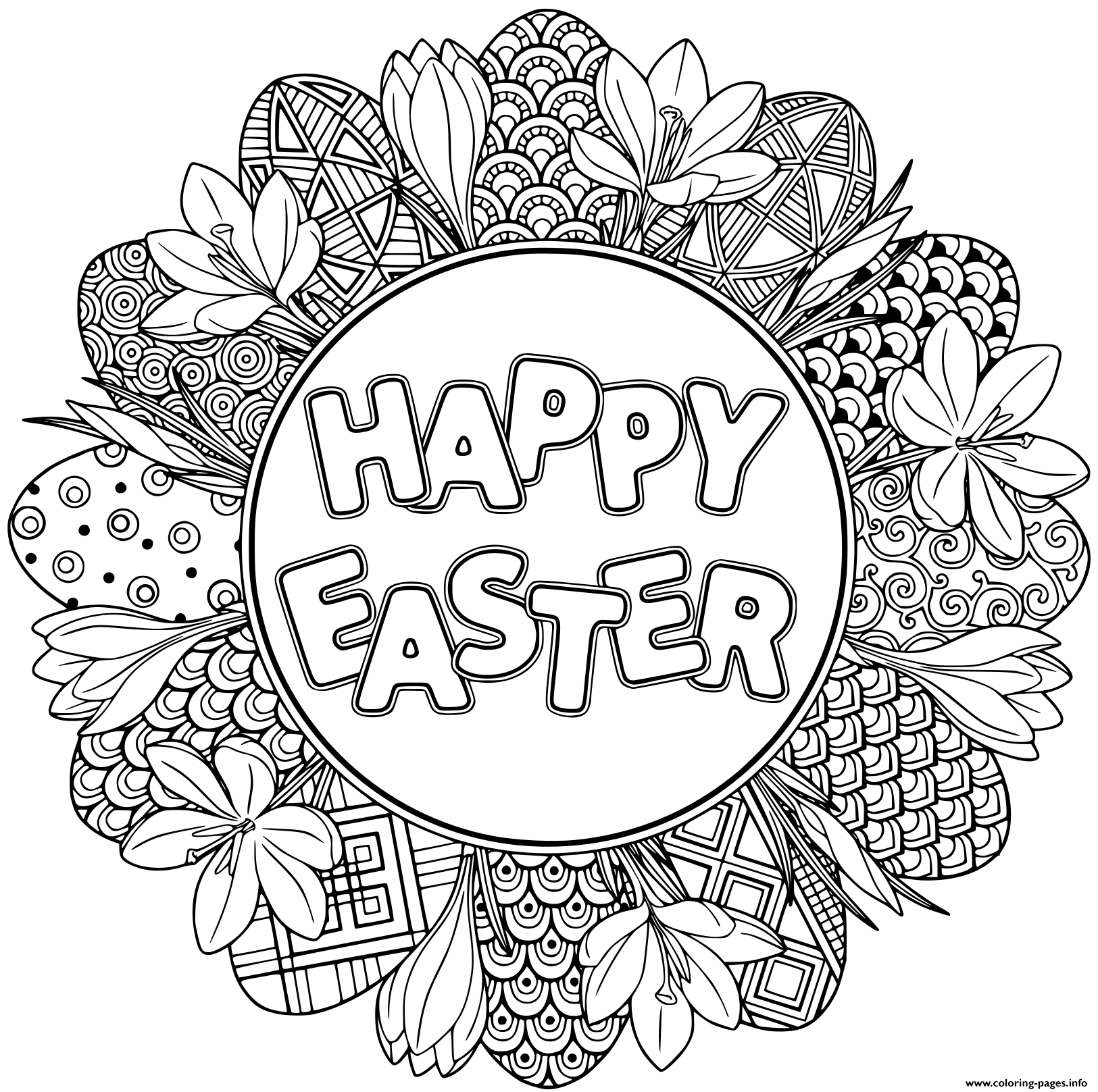 Happy Easter Easter Mandala Coloring Pages Printable