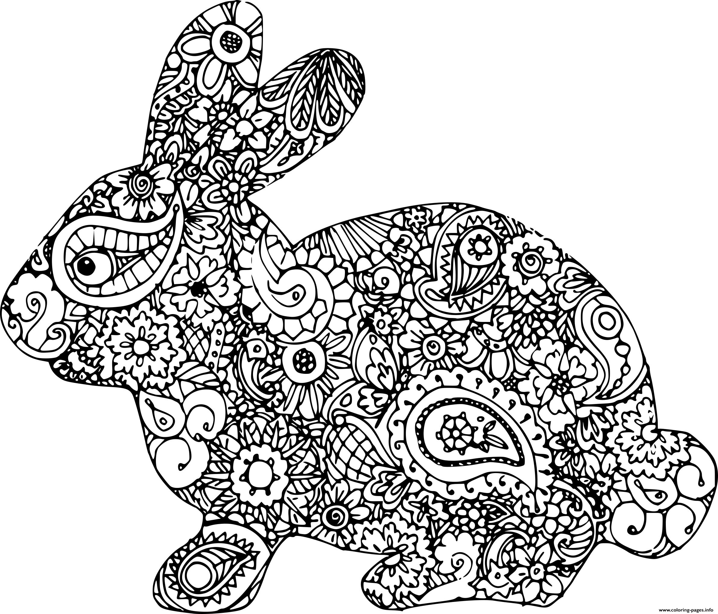 easter bunny adult difficult coloring pages printable