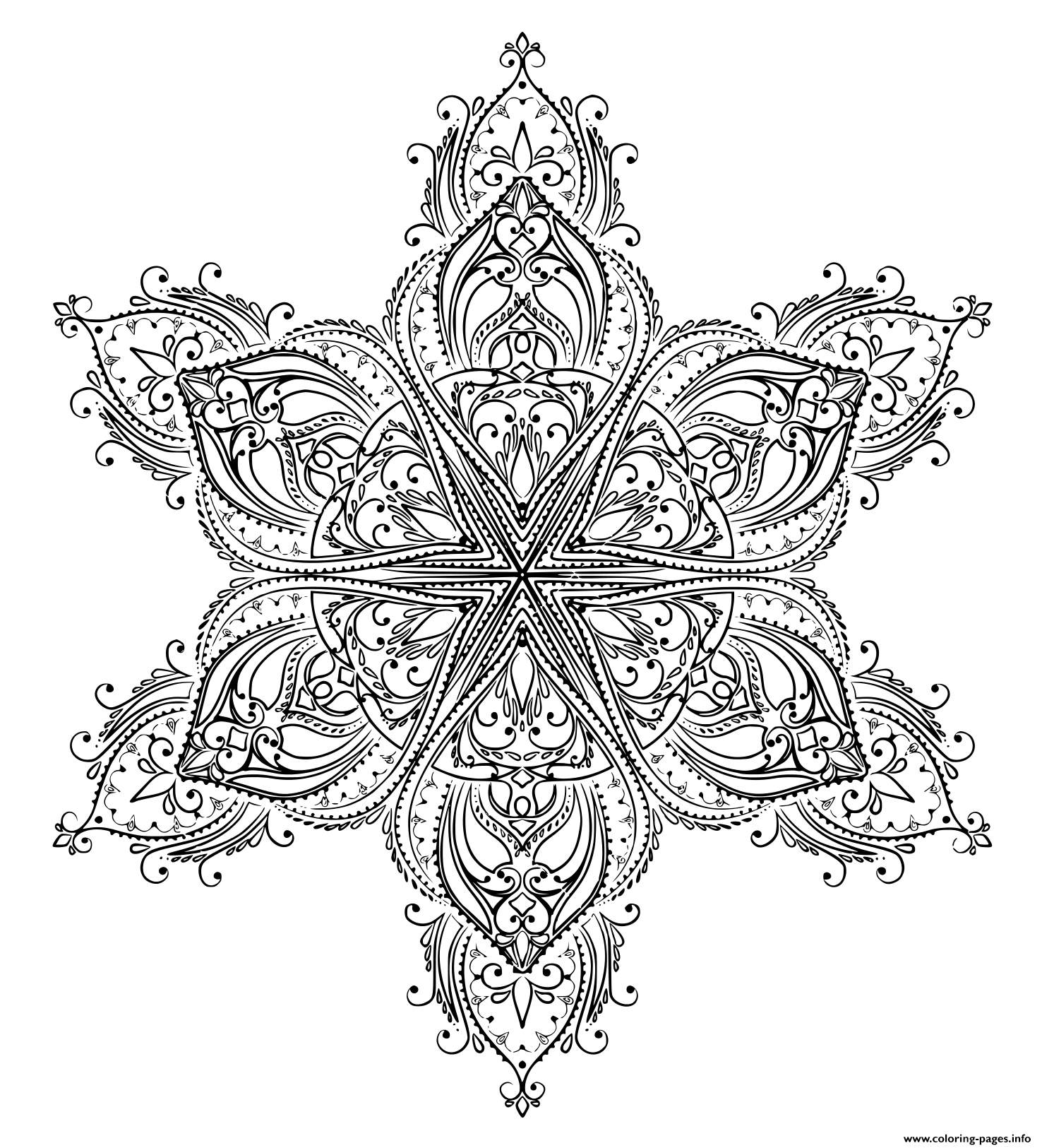 Mandala Shaped Star Adult coloring pages
