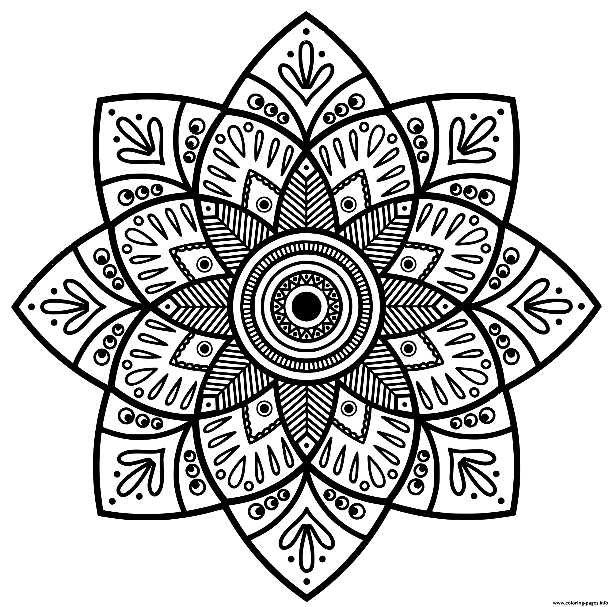 Mandala Indian Medallion Adult coloring pages