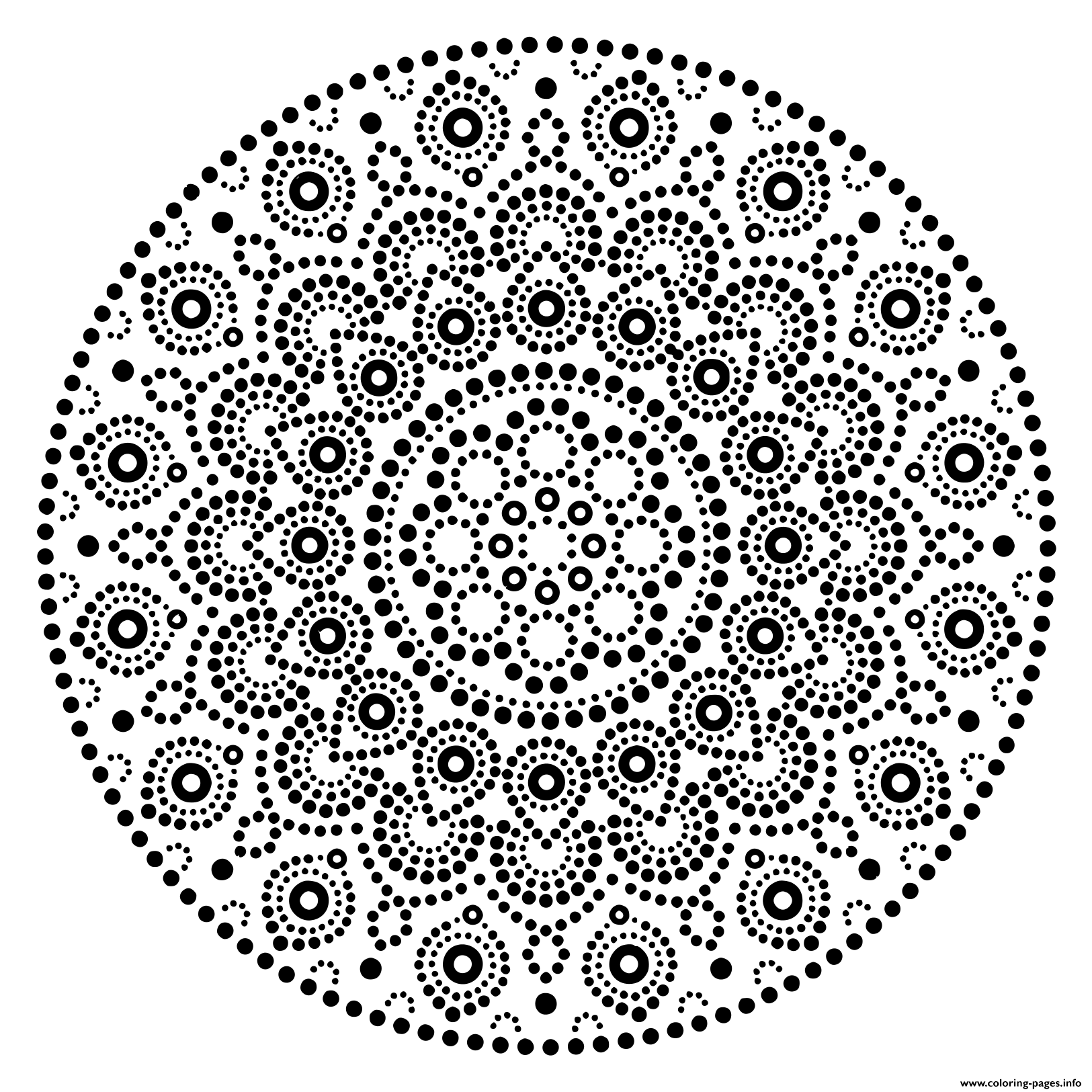 Mandala Design Dots Pattern coloring pages