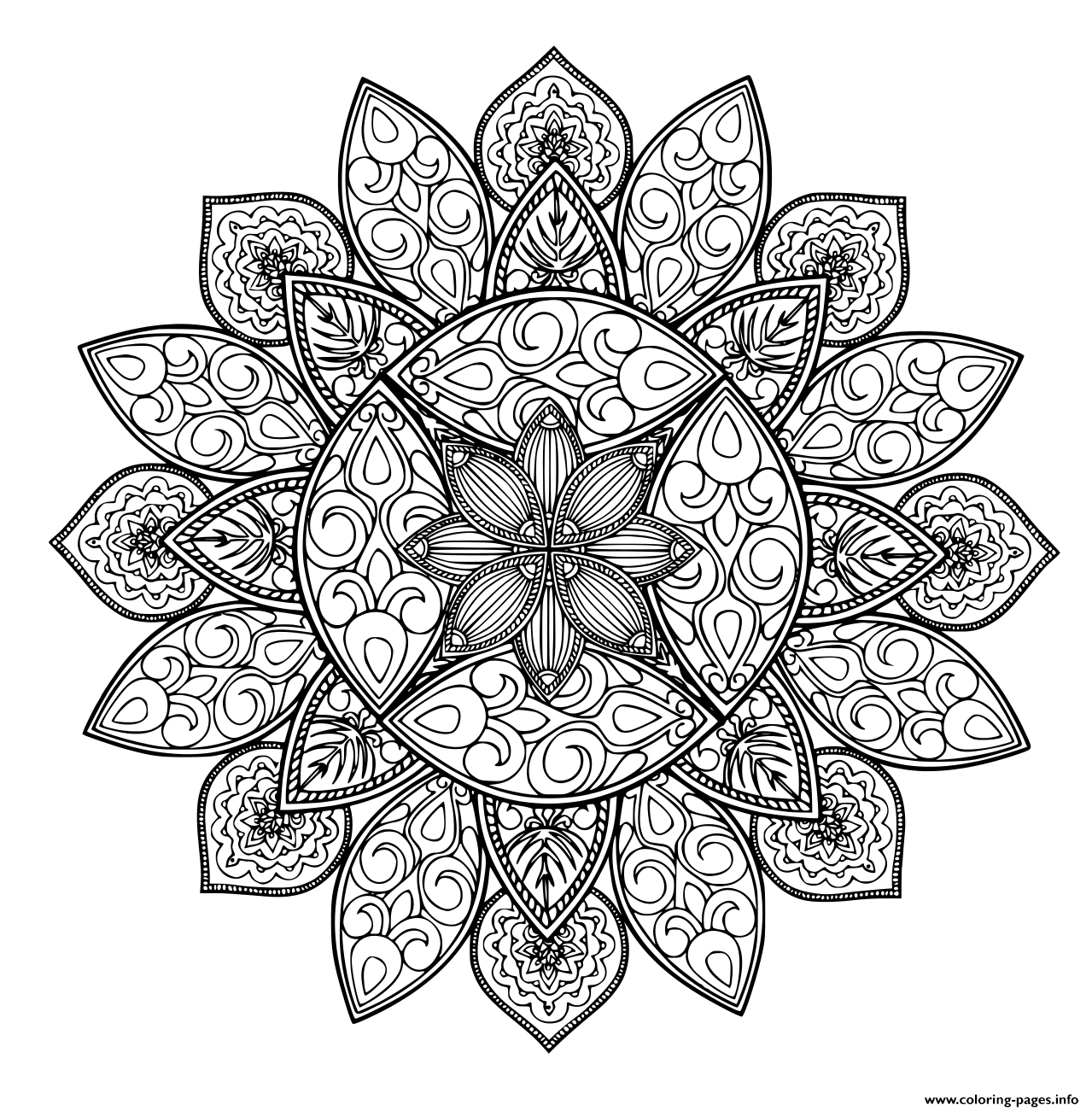 Mandala Geometric Shape Adult coloring pages