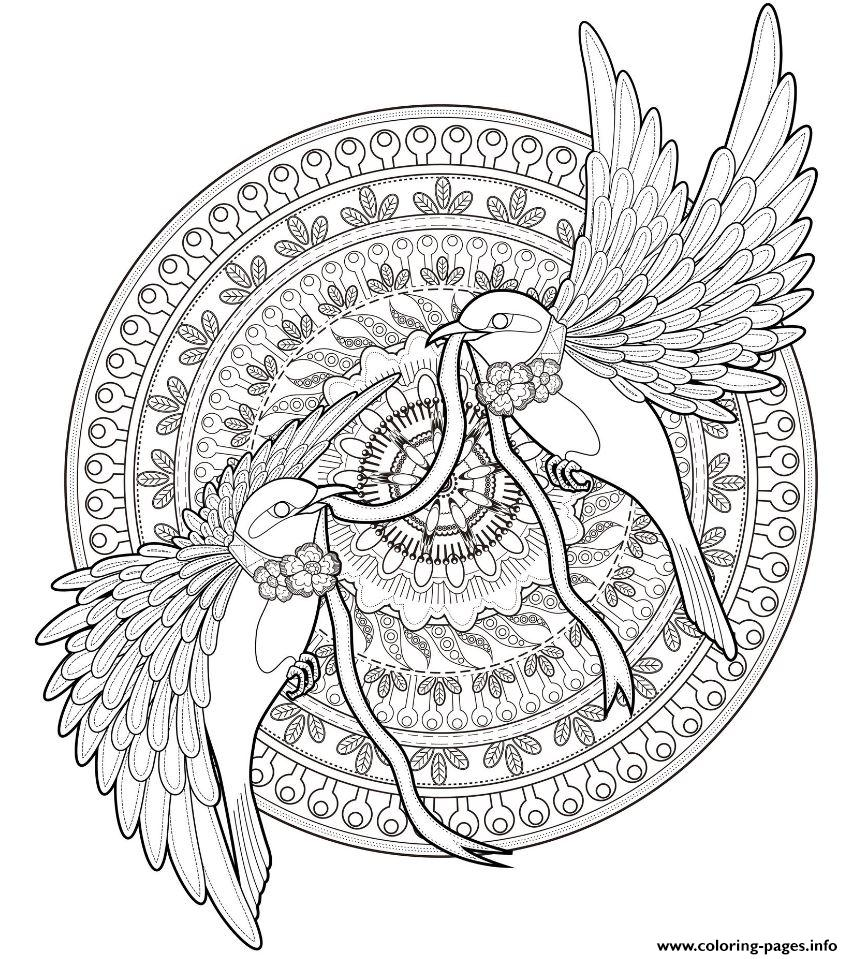 Mandala Adult Animal Birds coloring pages