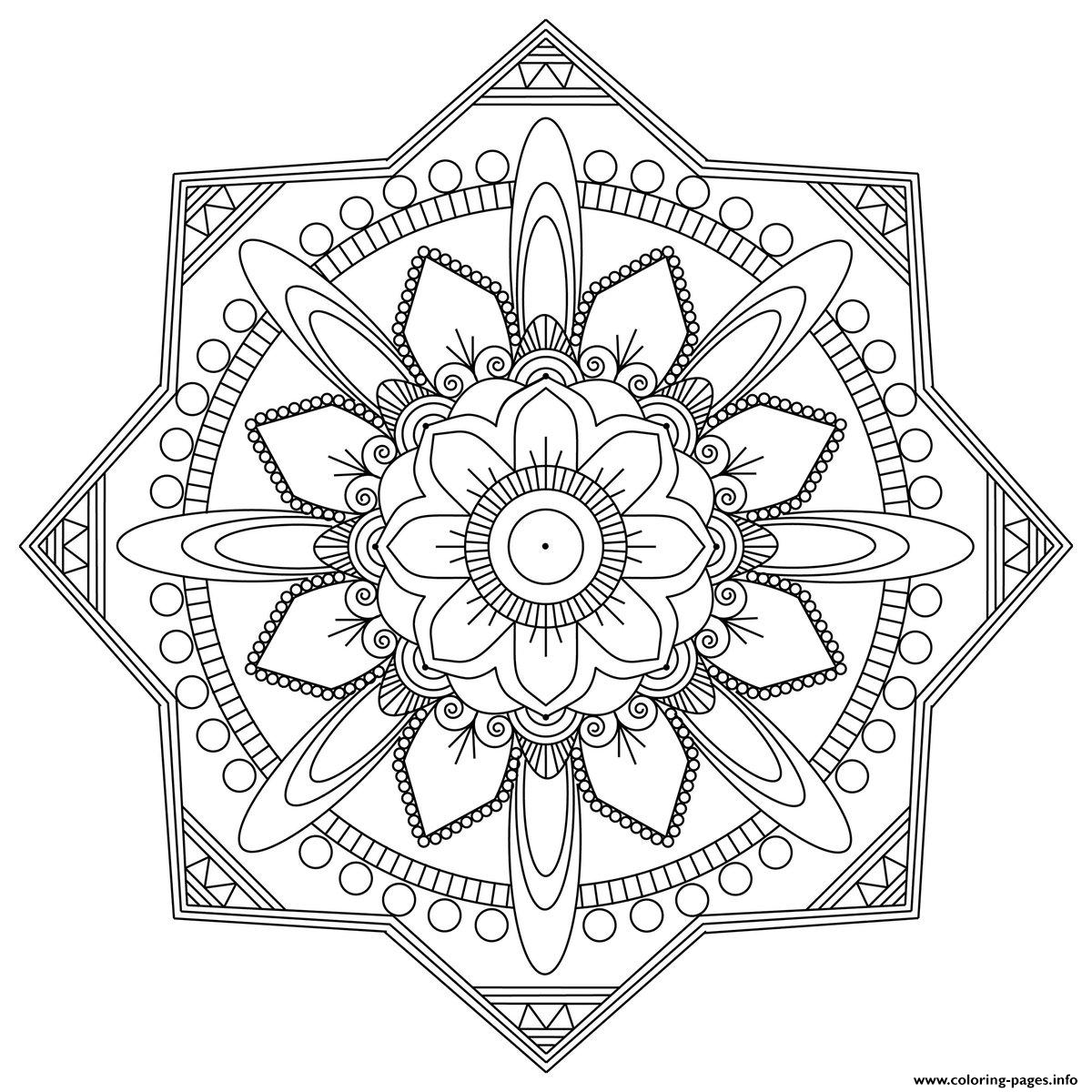 Simple Mandala Adult Easy Fun coloring pages