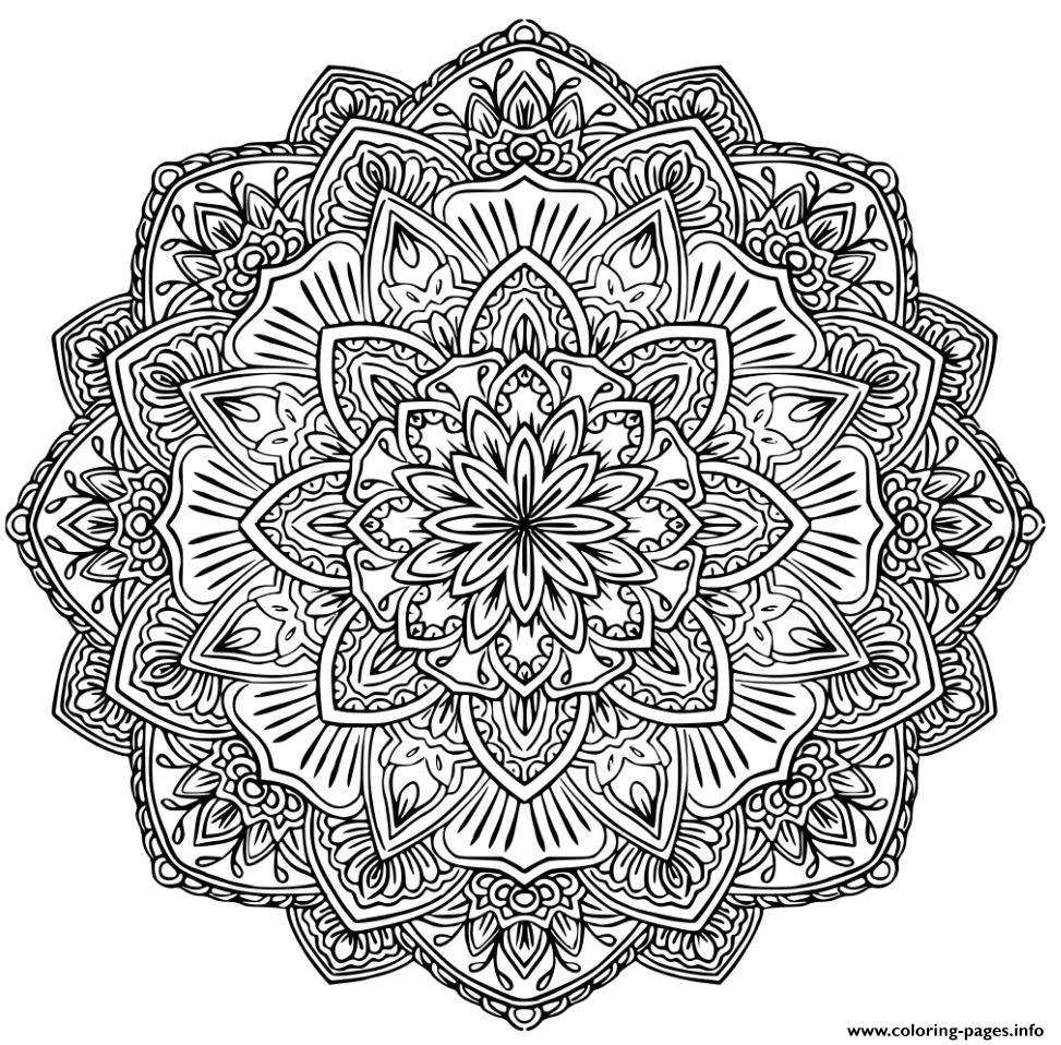 Mandala Adult Complex Flowers Coloring Pages Printable