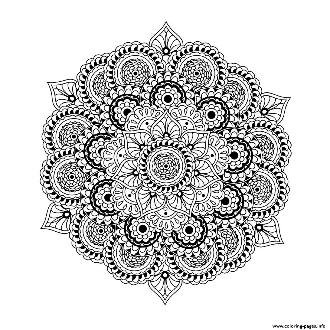 Mandala Complex Difficult To Adult Art Therapy coloring pages