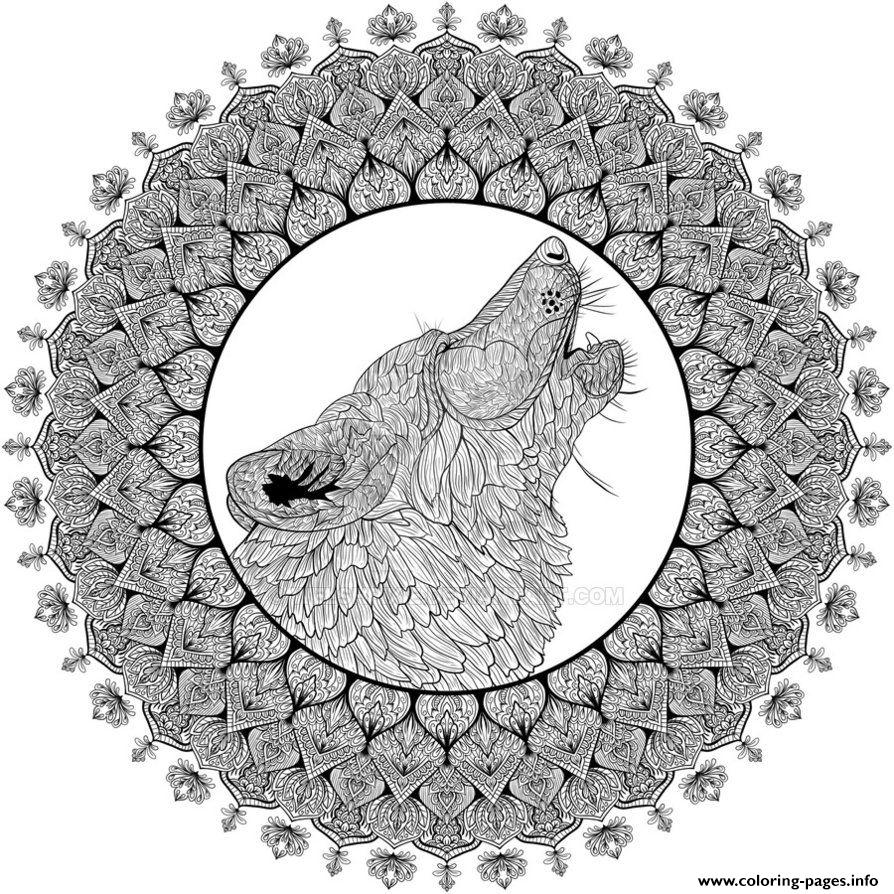 Mandala Animal Adult Difficult Wolfe coloring pages