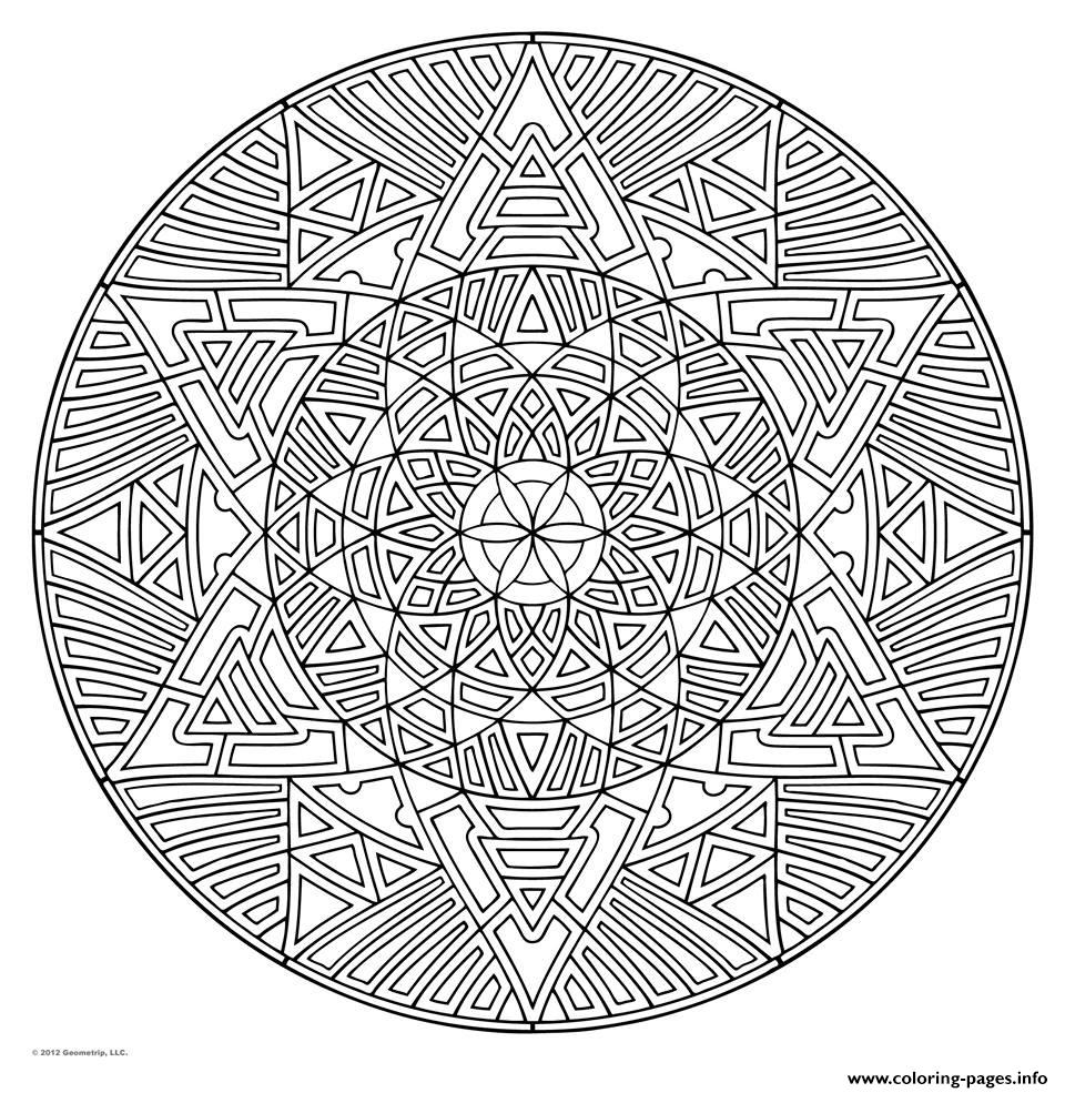 - Mandala For Adult Geometric Art Therapy Coloring Pages Printable