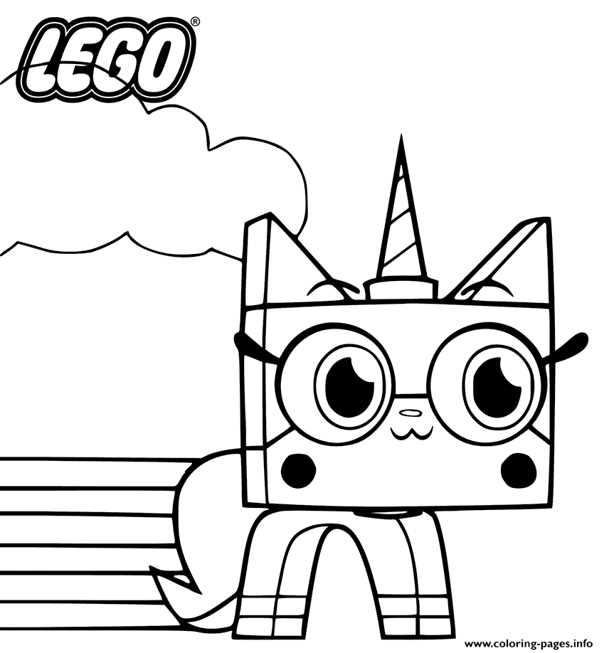 Unikitty With Rainbow Lineart Coloring Pages Printable