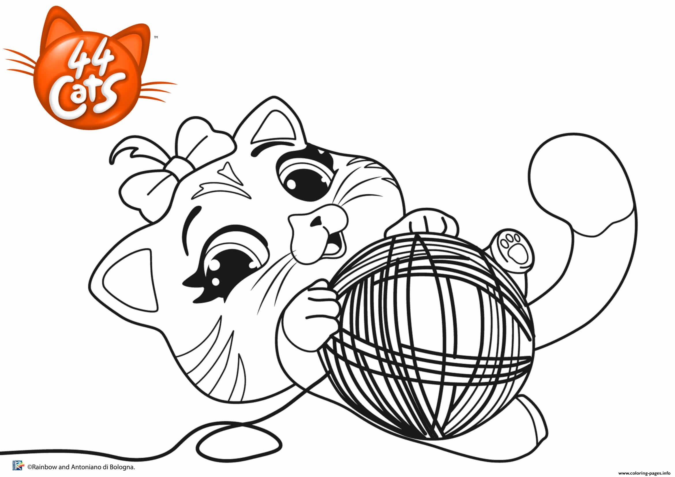 Pilou Cat Playing 44 Cats Coloring Pages Printable