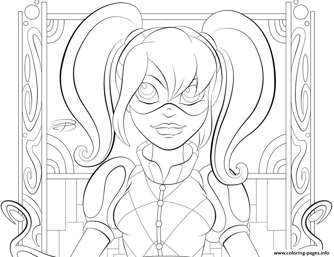 Harley Quinn Super Girls Coloring Pages Printable