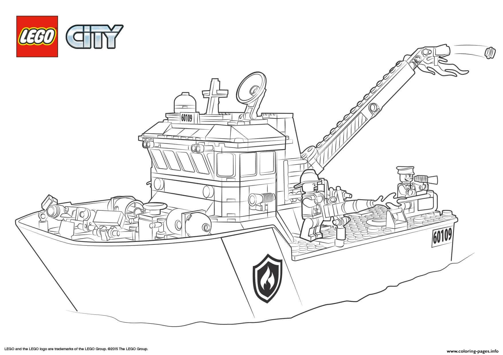 Lego City Fire Boat coloring pages