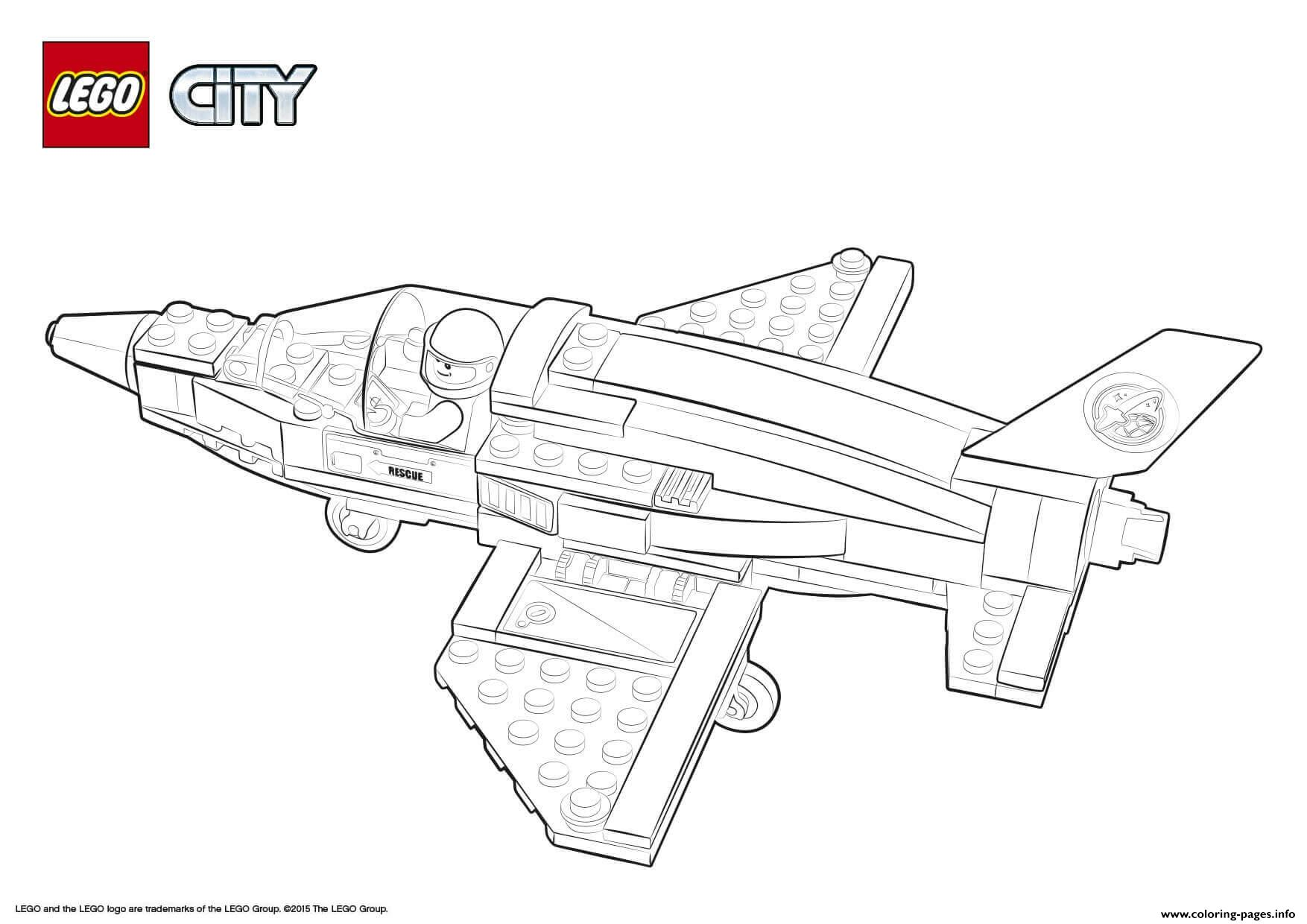 Lego City Rescue Training Jet Transporter Coloring Pages Printable