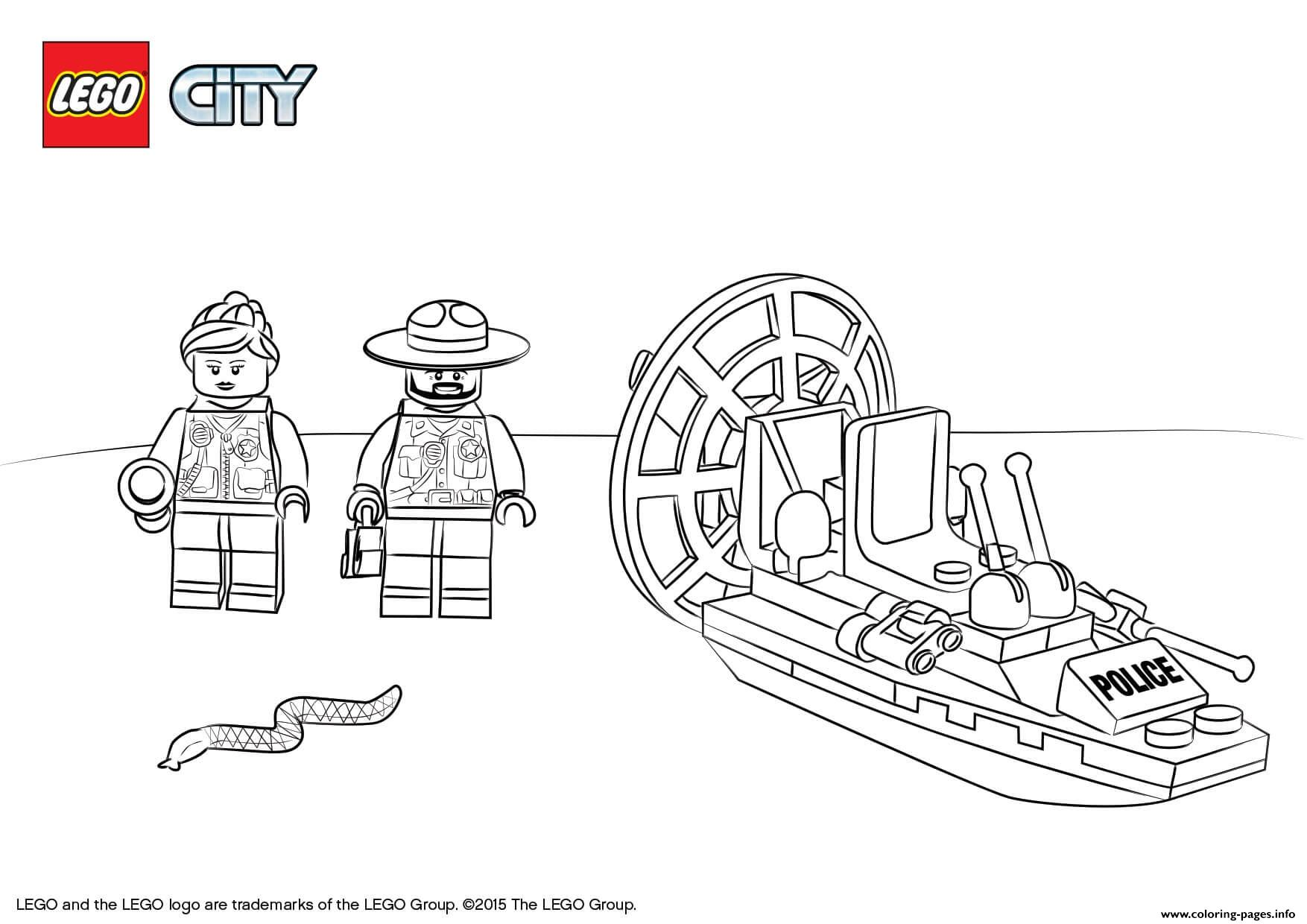 Lego City Swamp Police Starter Set coloring pages
