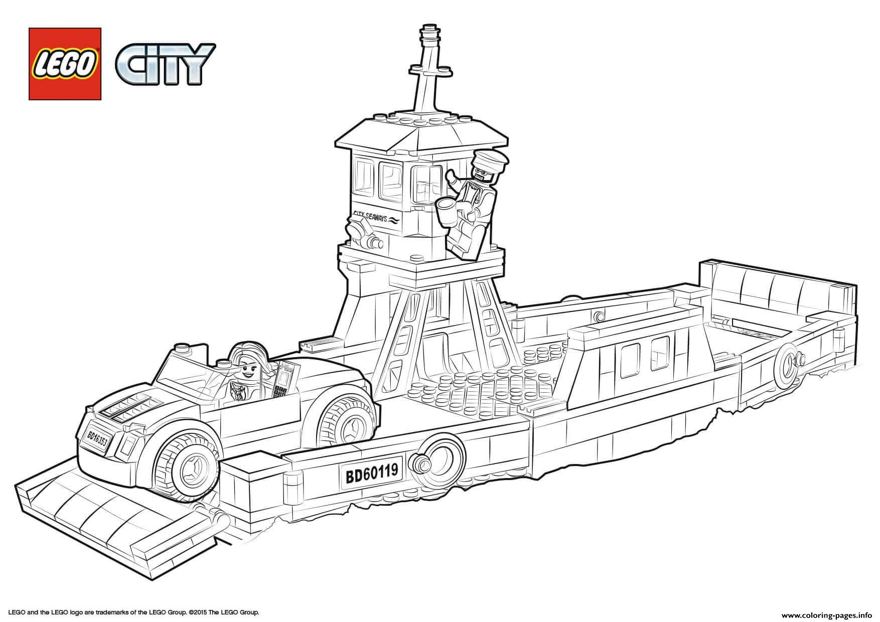 Lego City Boat Transport Ferry Coloring Pages Printable