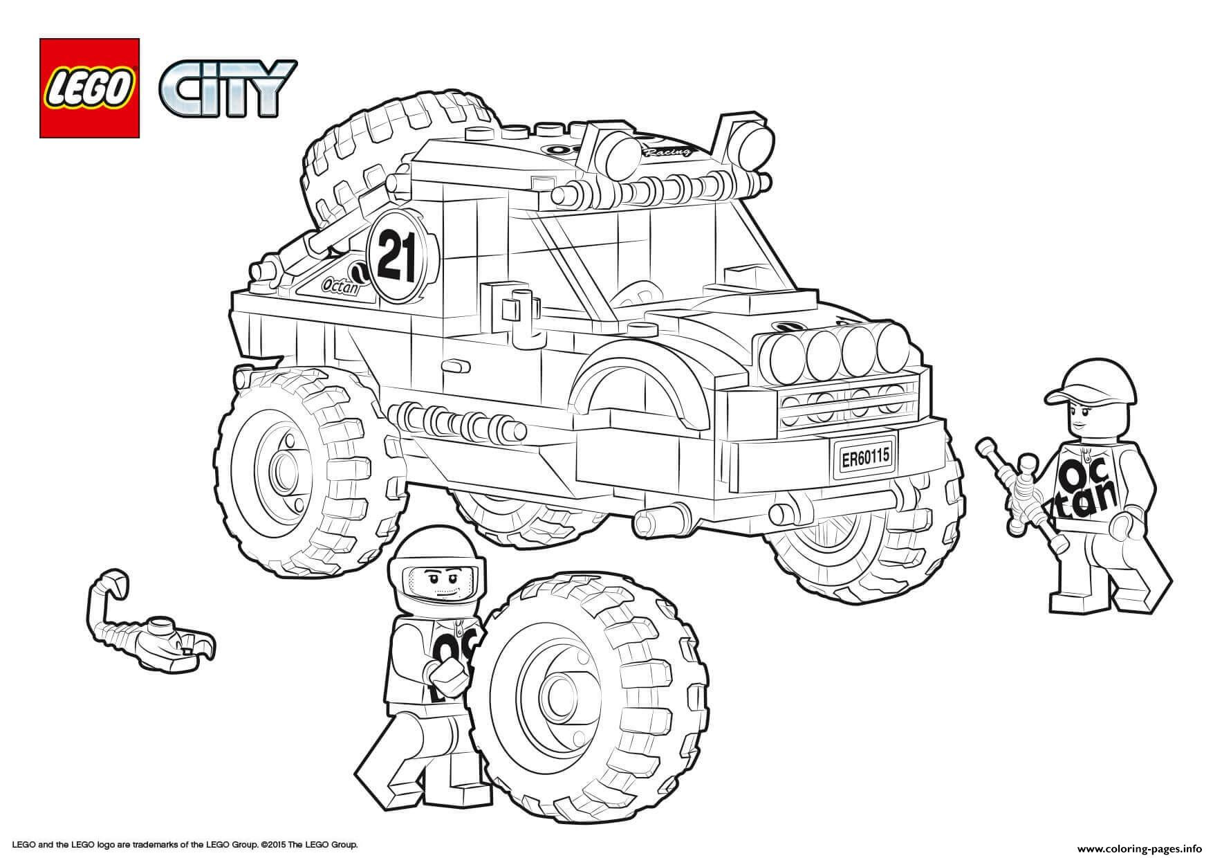 Lego City 4x4 Off Roader Coloring Pages Printable