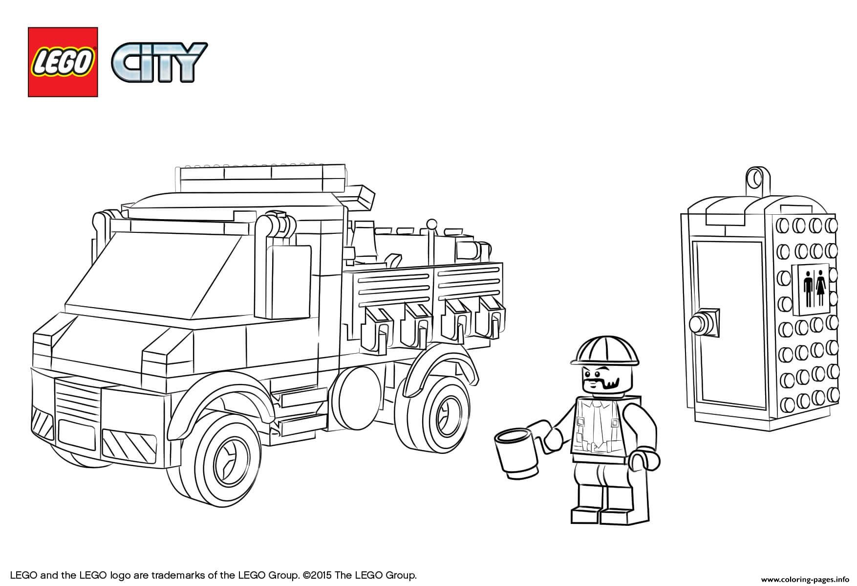 Lego City Service Truck Coloring Pages Printable