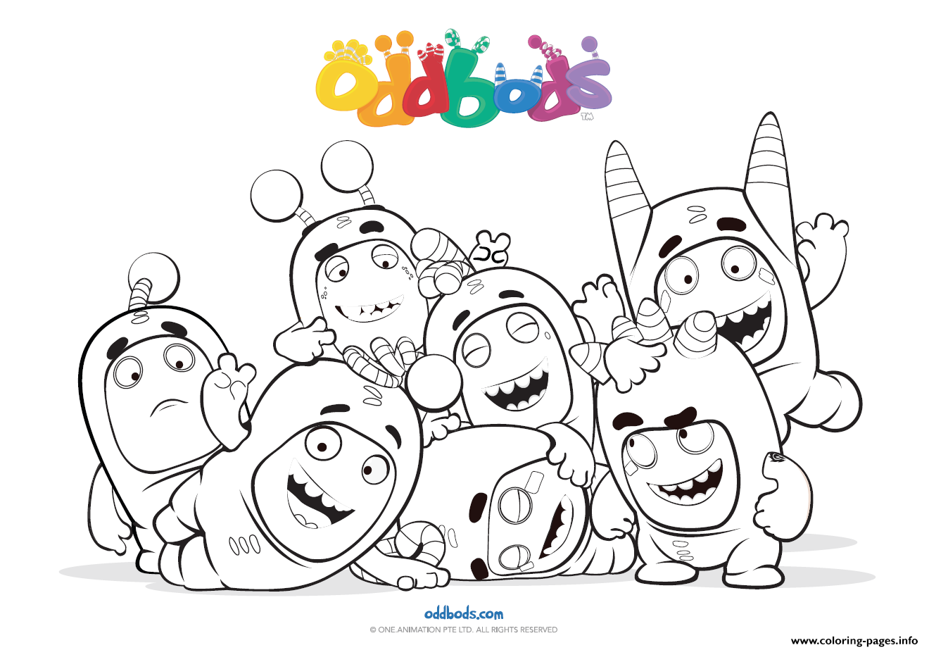 Oddbods Fun Time Kids Coloring Pages Printable