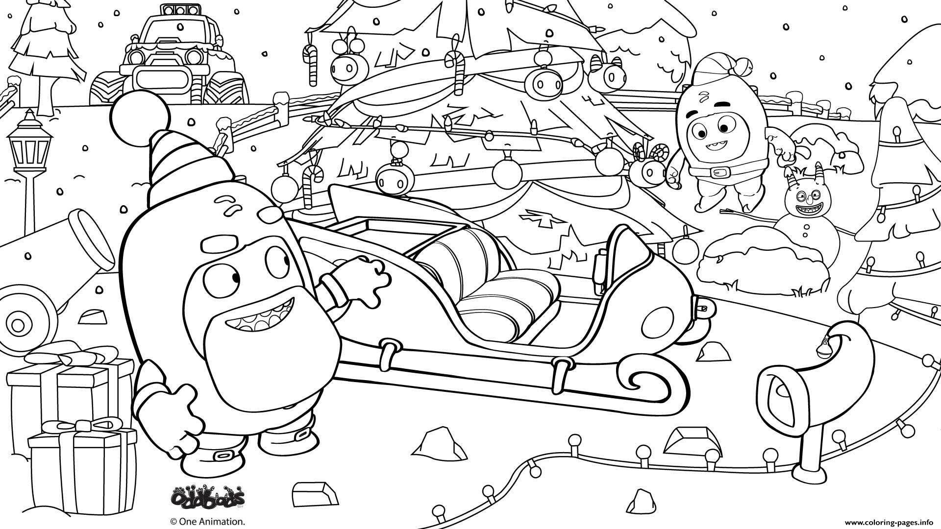 Oddbods Santa Claus Christmas Coloring Pages Printable