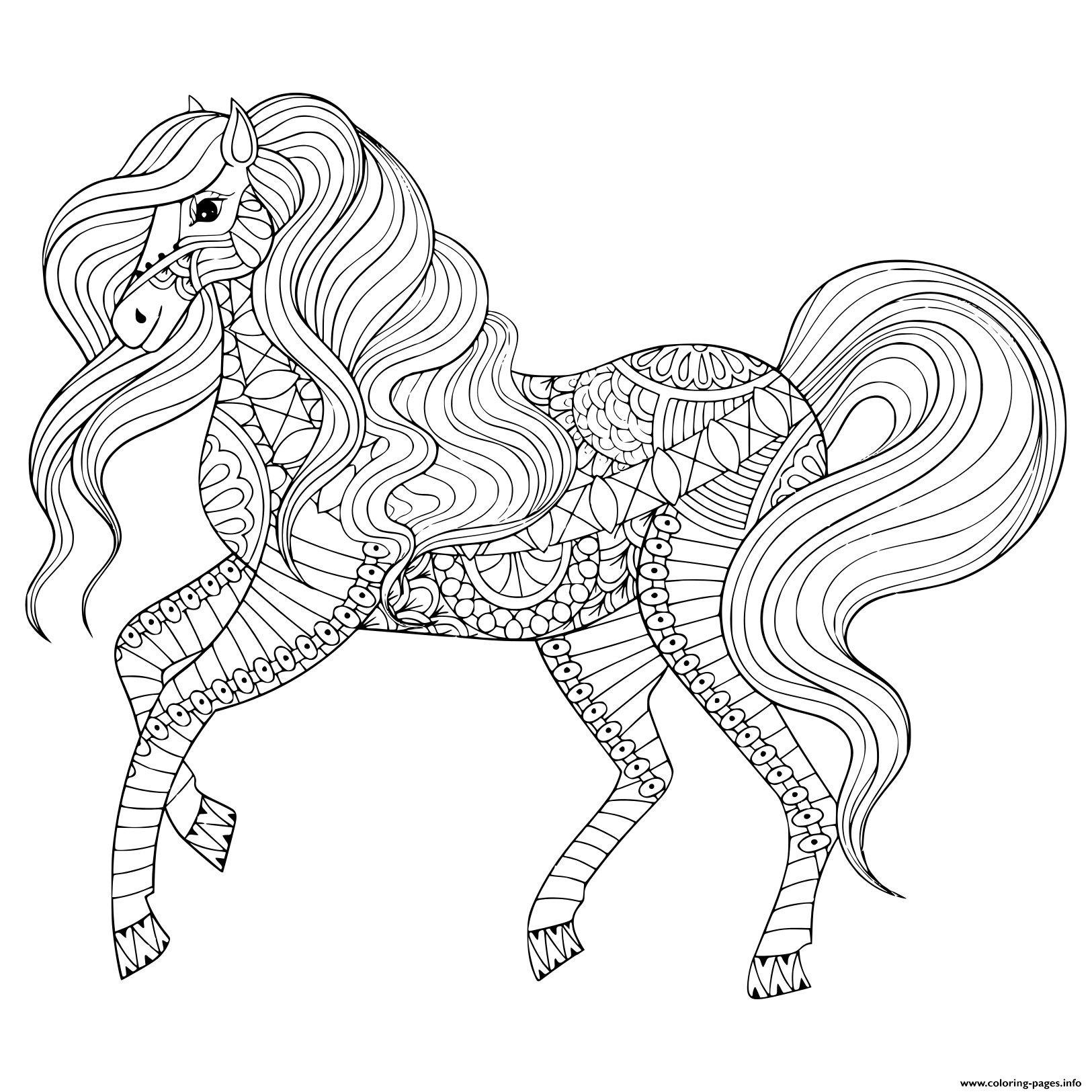 Adult Anti Stress Horse Zentangle Animal Coloring Pages
