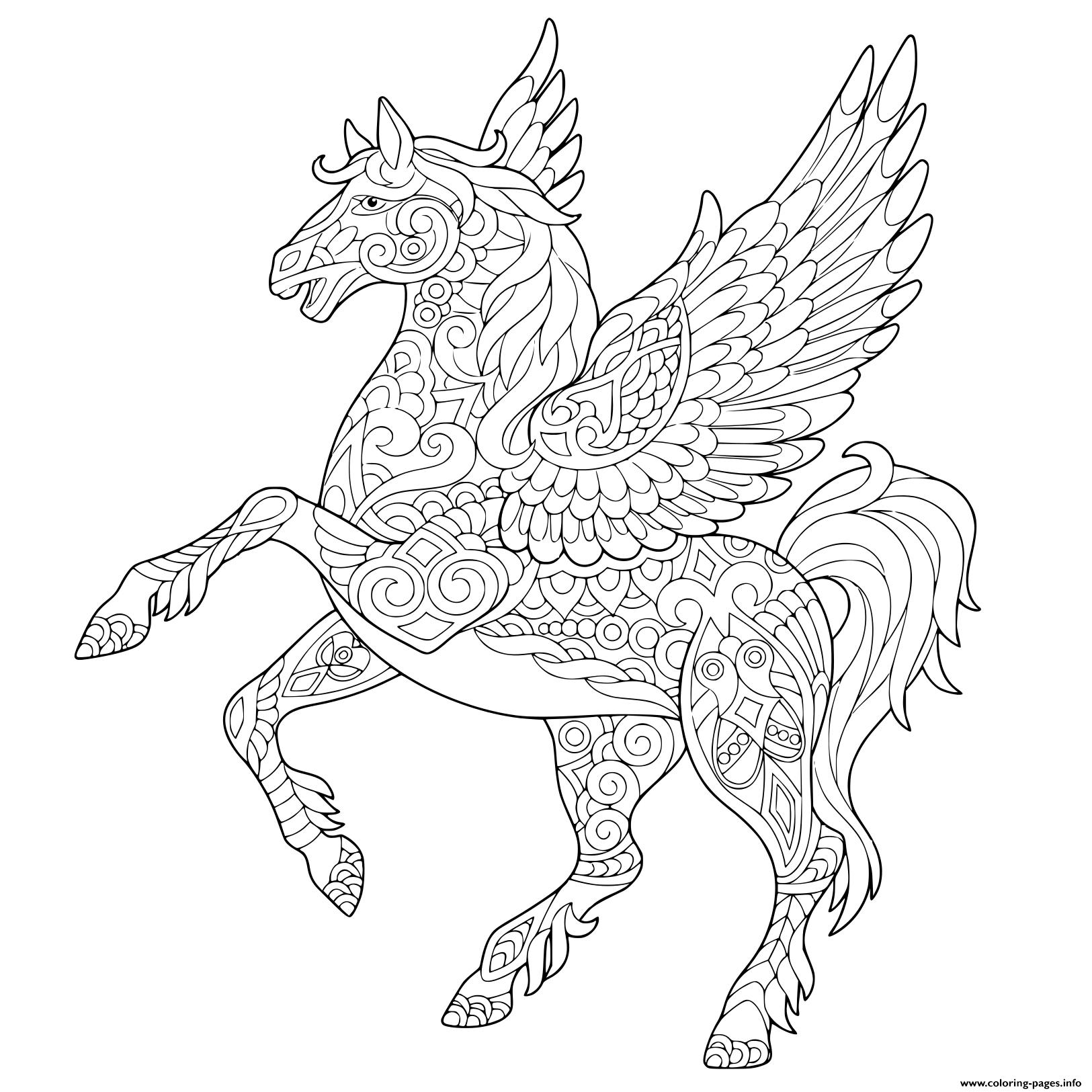 Pegasus Greek Mythological Winged Horse Flying Coloring Pages