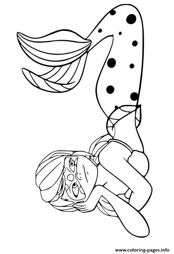 Miraculous Ladybug Mermaid Coloring Pages Printable