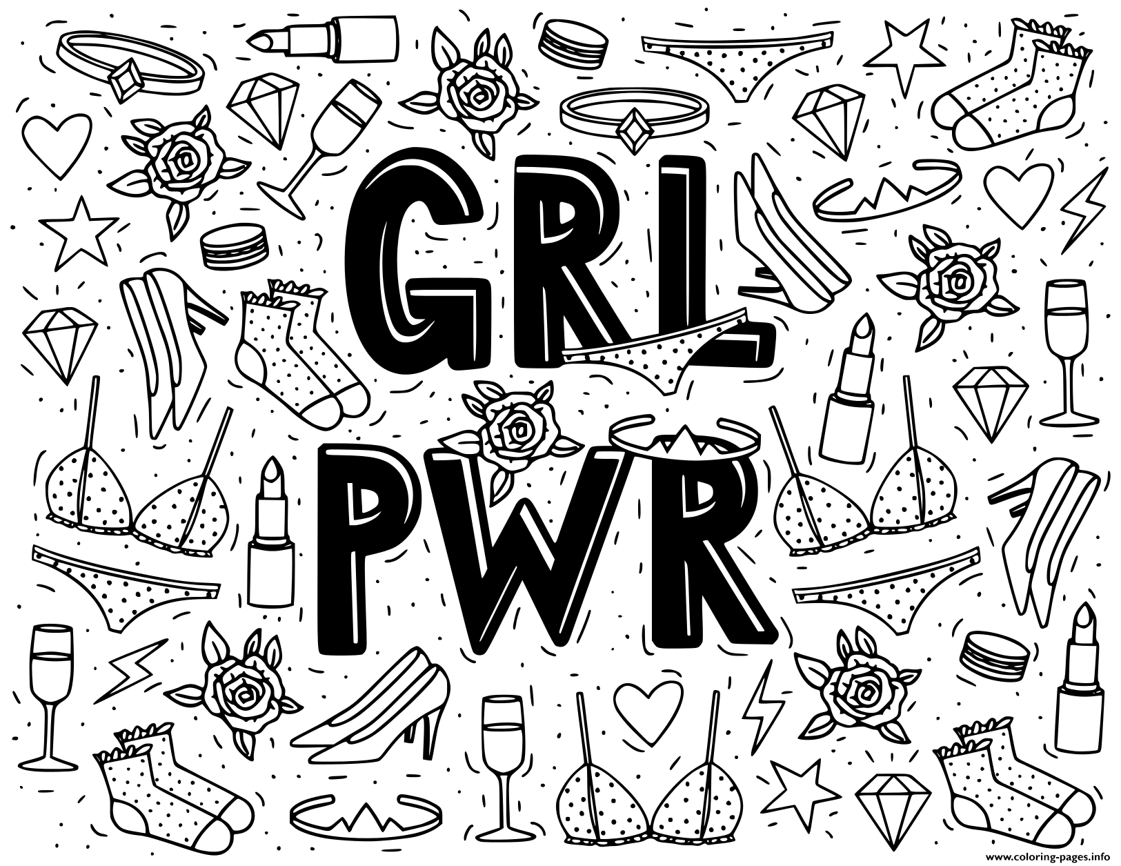 Doodle Girl Power Coloring Pages Printable