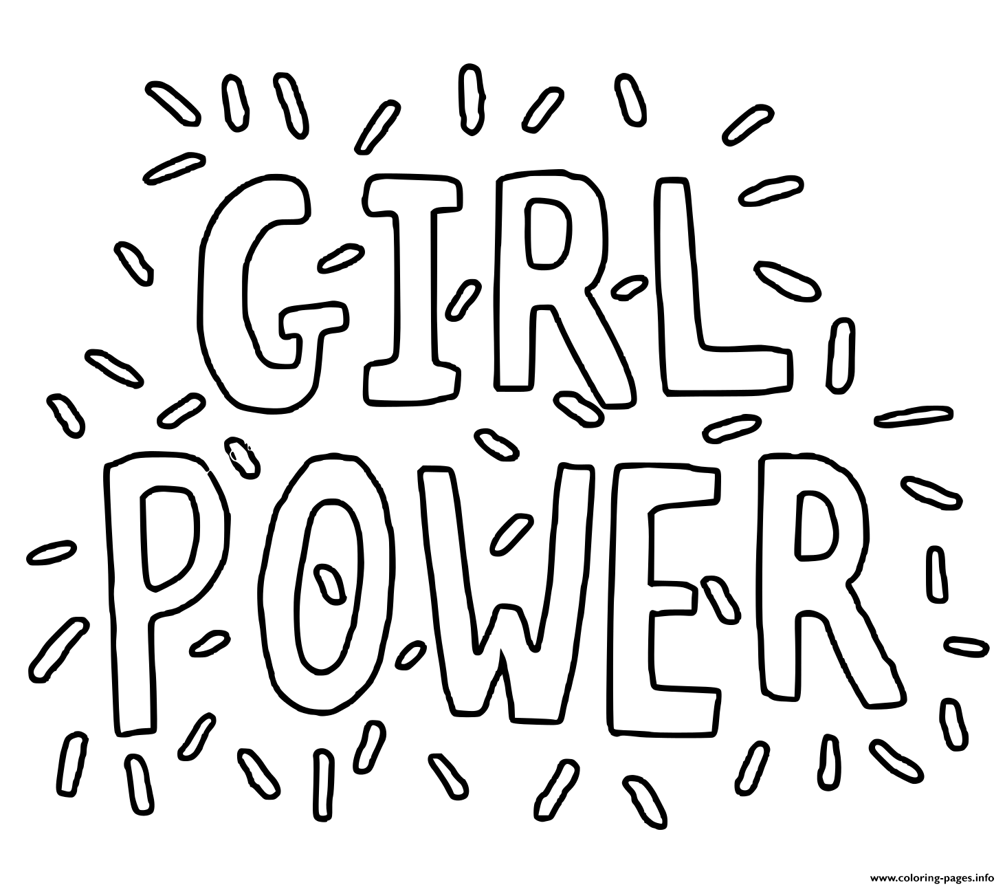 Girl Power Hand Lettering Coloring Pages Printable
