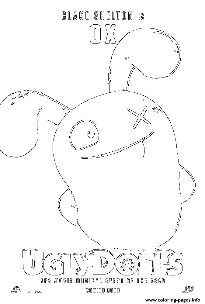 coloring pages of ugly dolls | Ox Uglydolls Coloring Pages Printable