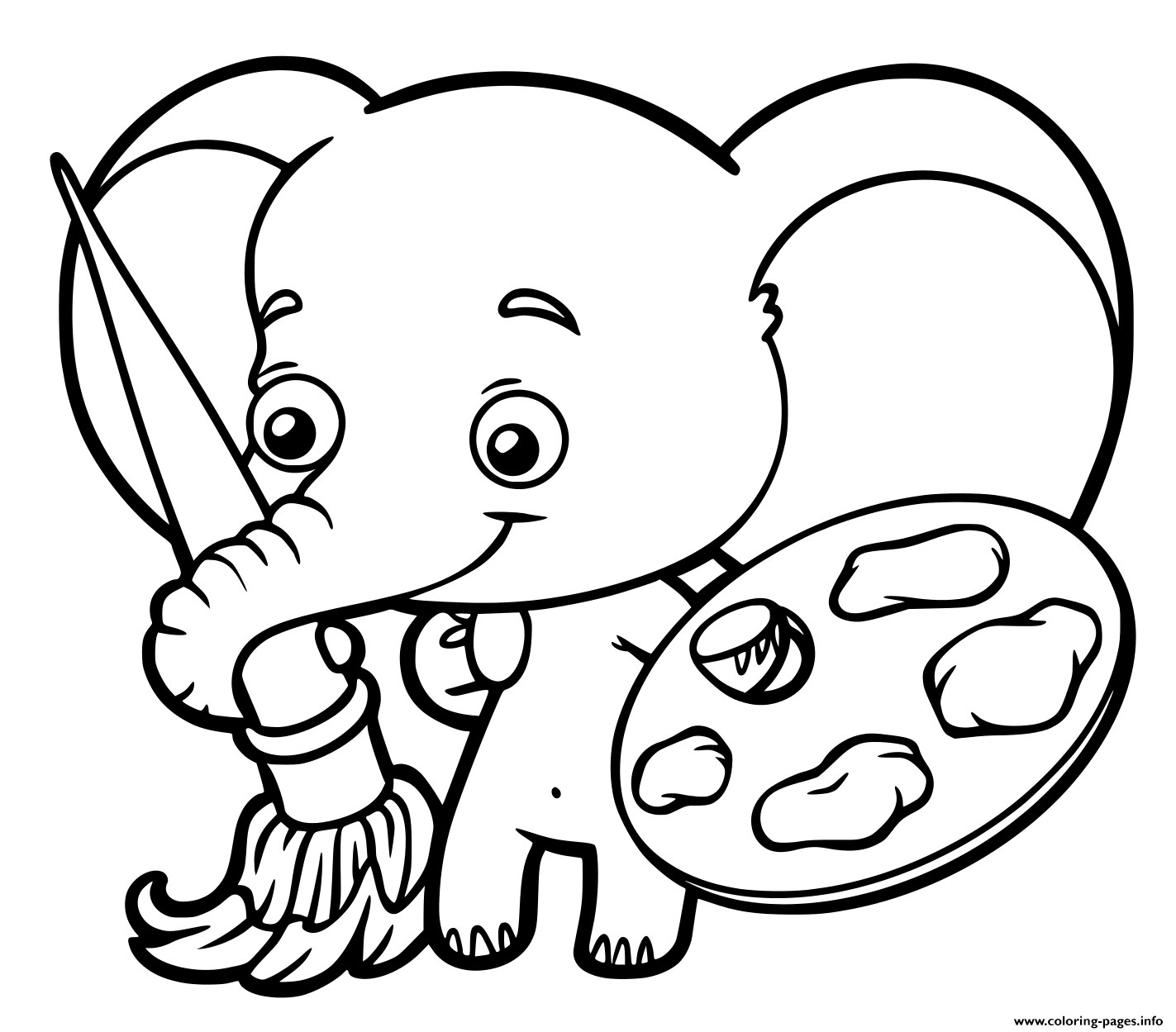 - Baby Elephant Who Paint Coloring Pages Printable