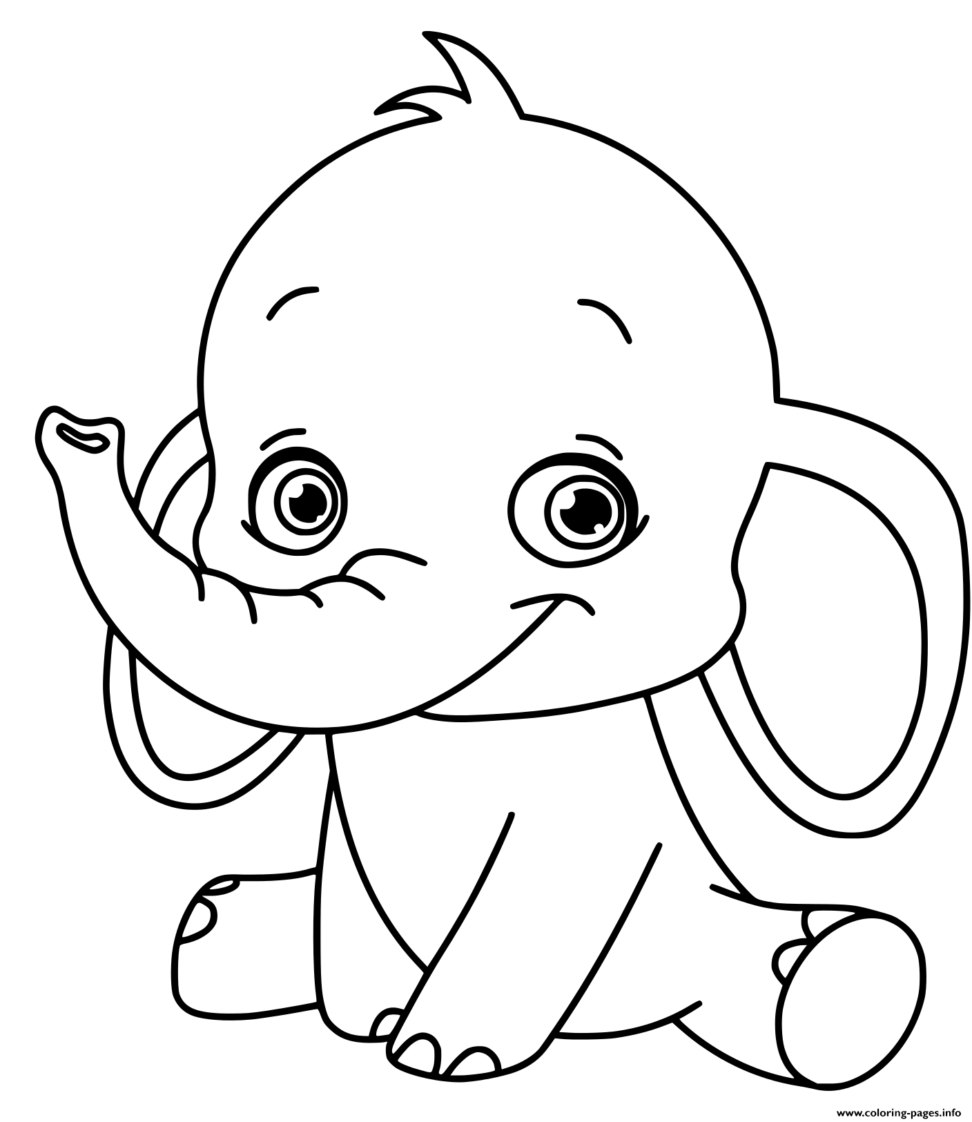 Baby Elephant Kids Coloring Pages Printable