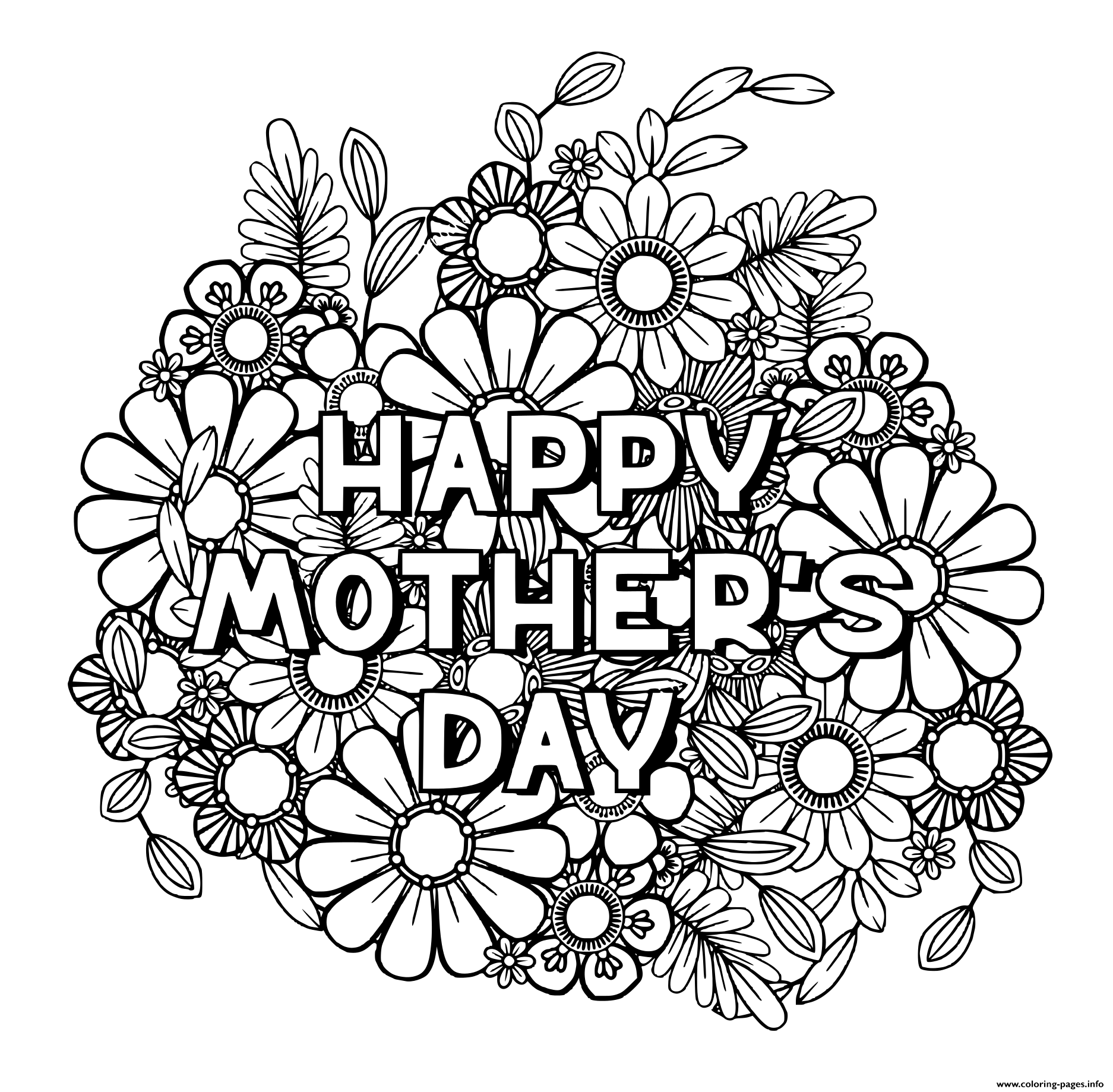 Happy Mothers Day For Adult Flowers Nature Coloring Pages Printable