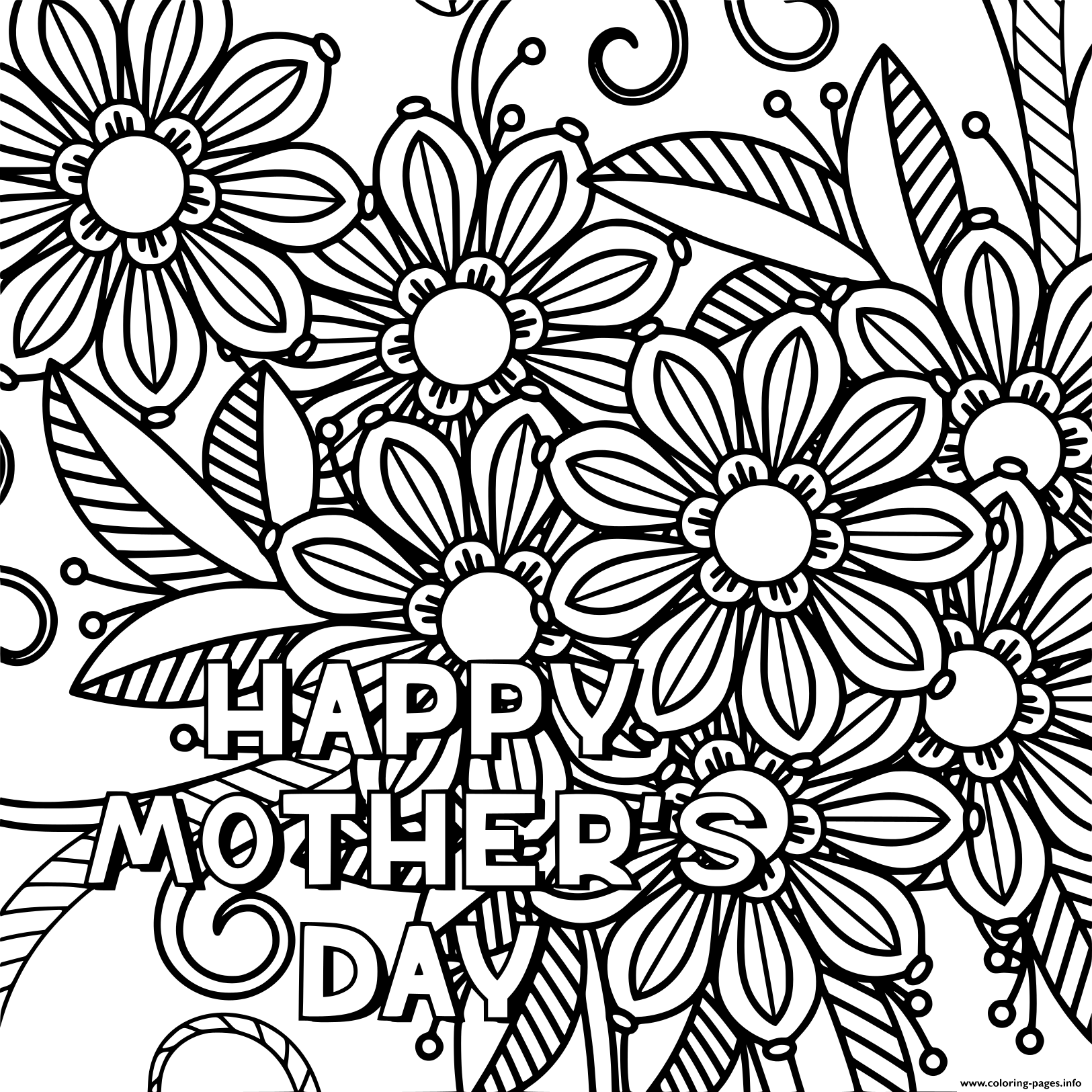 graphic relating to Mothers Day Coloring Pages Printable named Content Moms Working day Grownup Mlack And White Coloring Webpages Printable