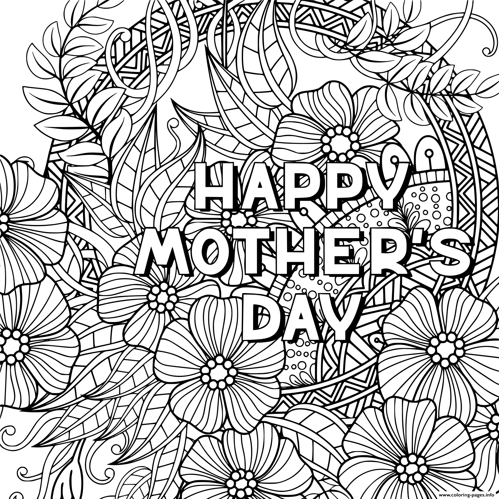 photograph about Mothers Day Coloring Pages Printable named Pleased Moms Working day For Grownup Zentangle Coloring Web pages Printable