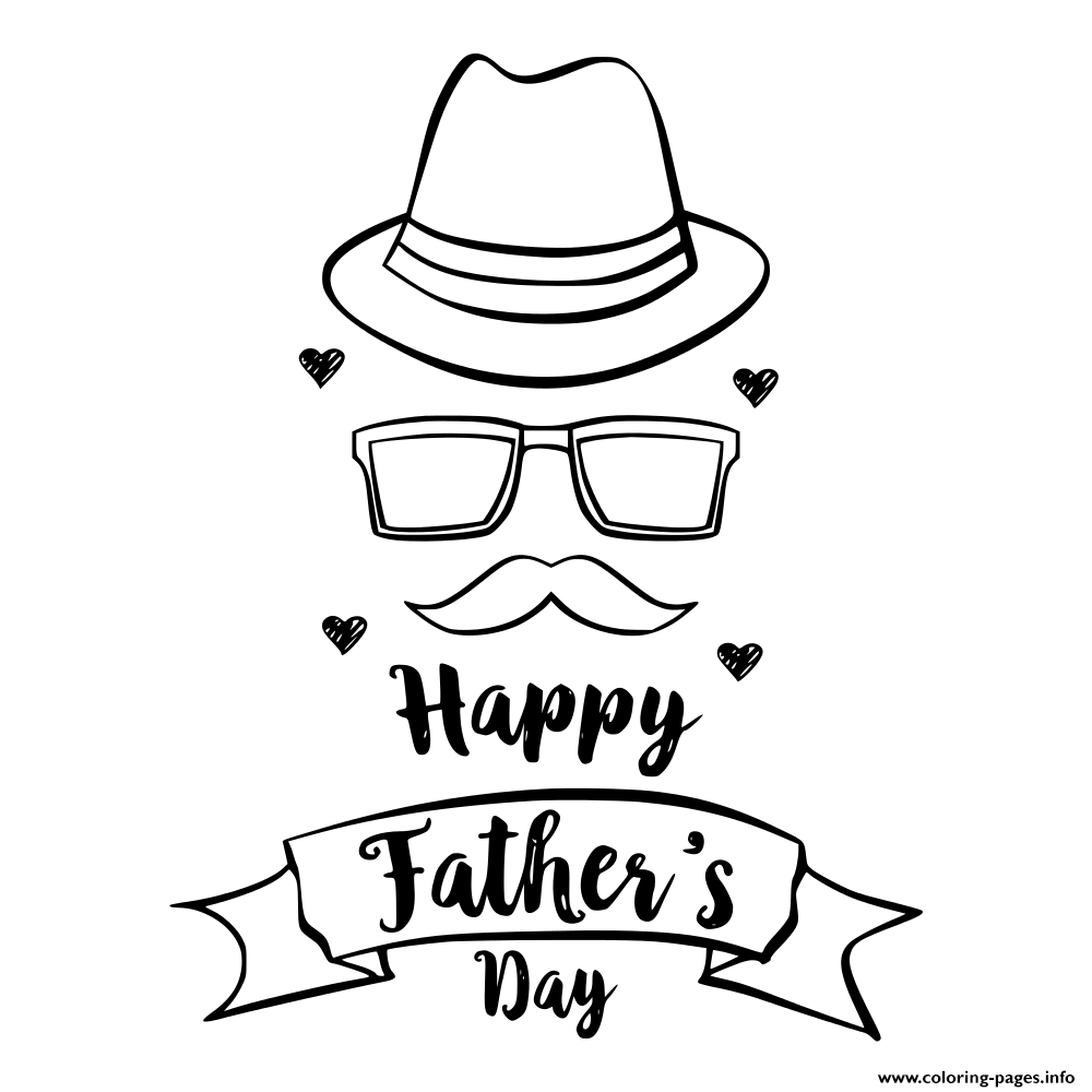 Happy Father Day Hand Draw Celebration coloring pages