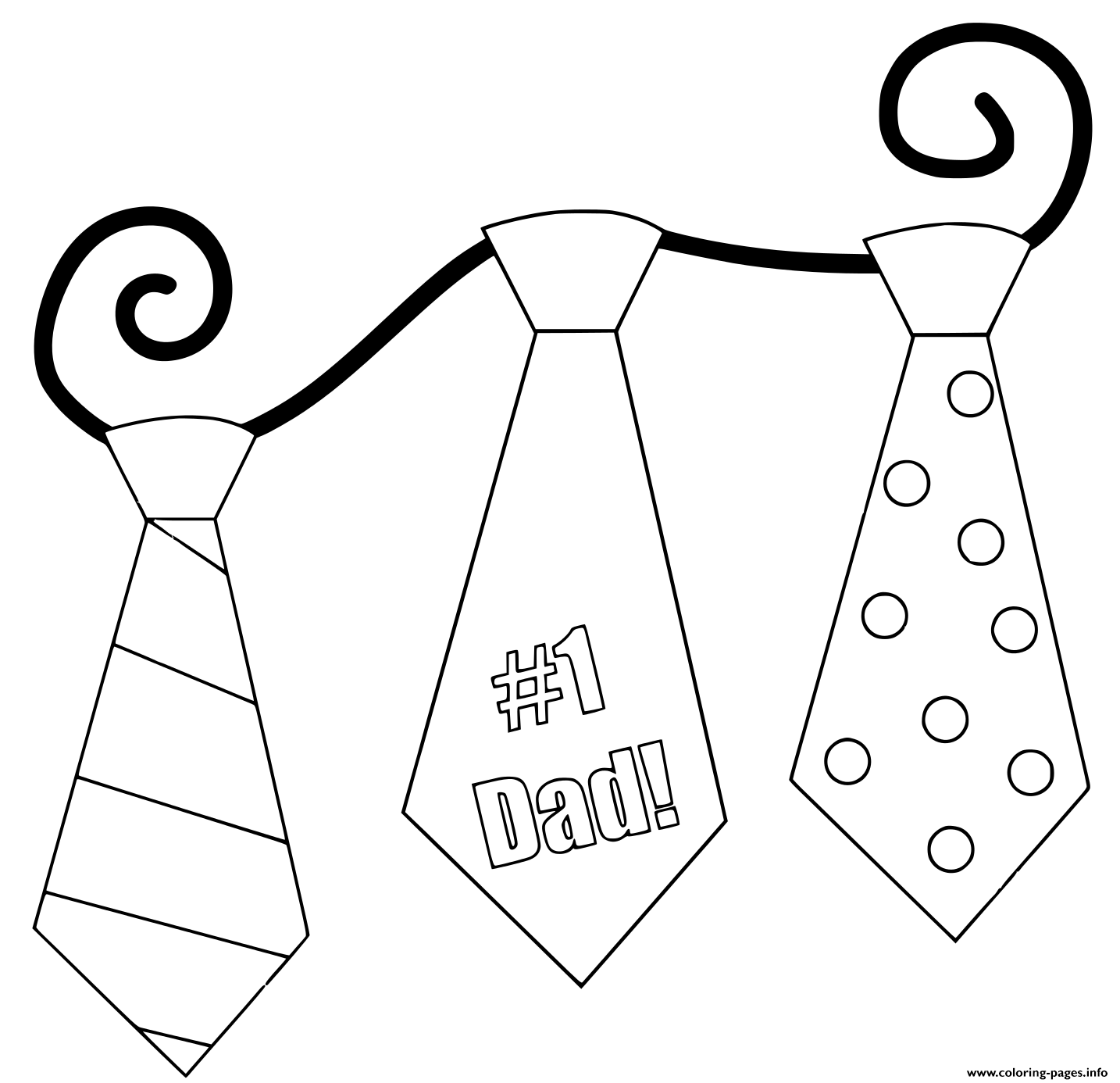Fathers Day Ties coloring pages