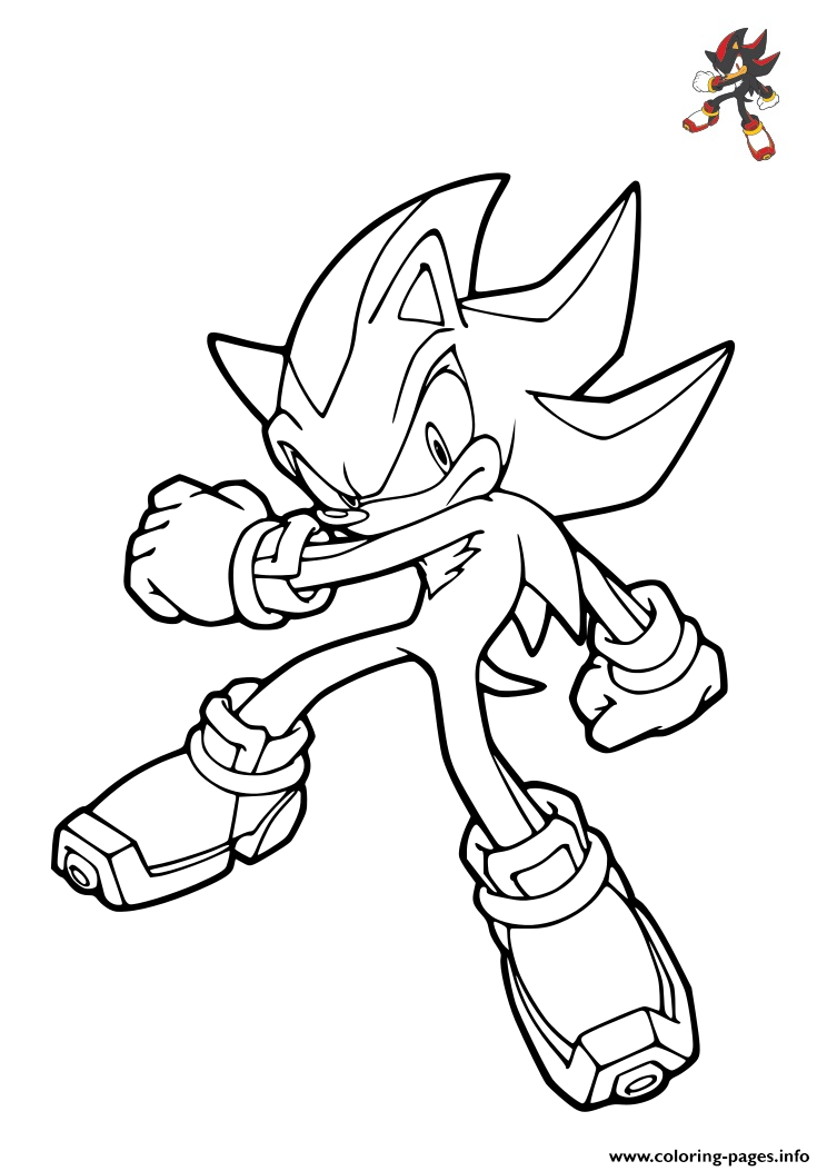 Sonic Shadow The Hedgehog Coloring Pages Printable