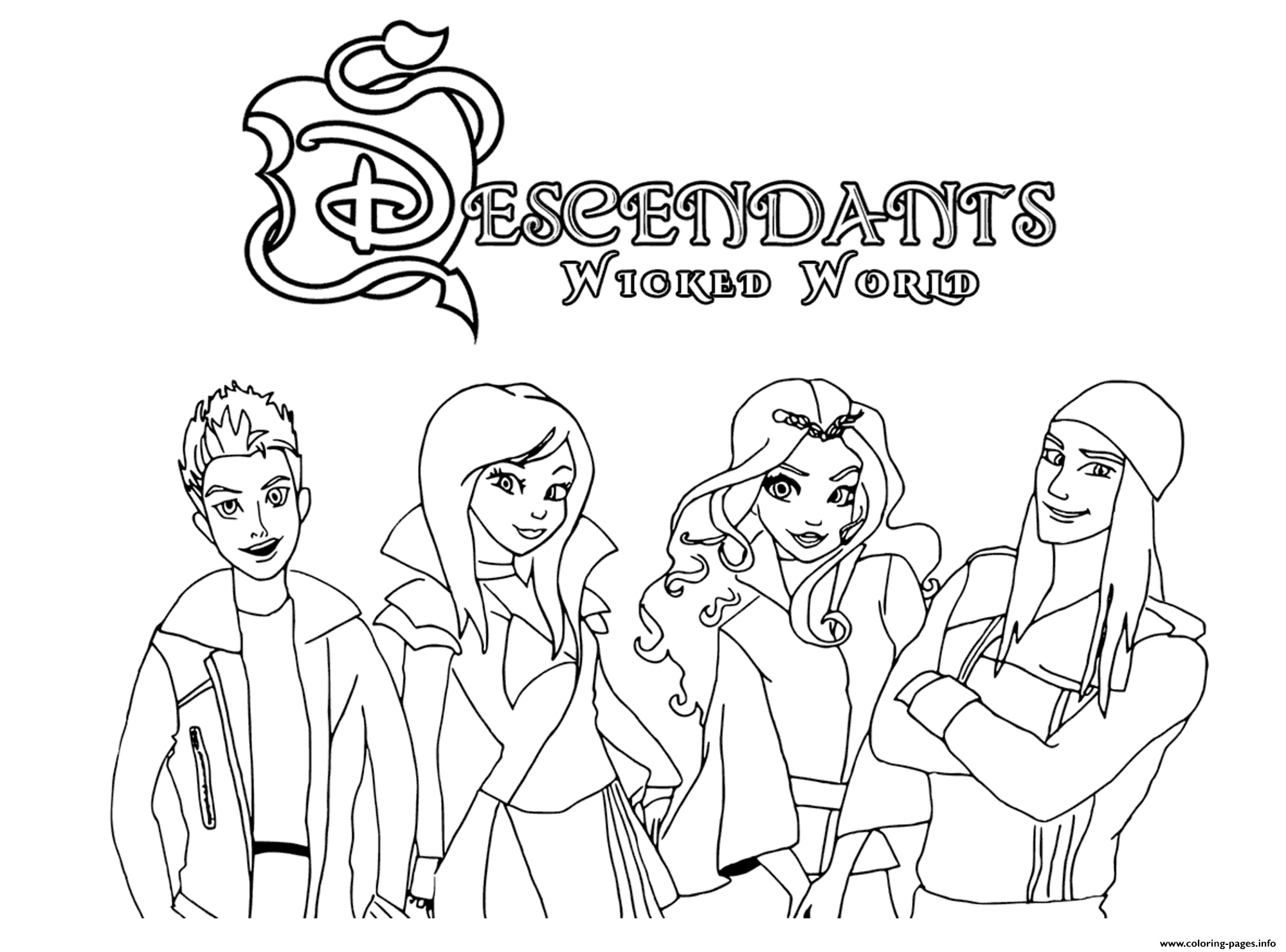 The Descendants Wicked World Coloring Pages Printable