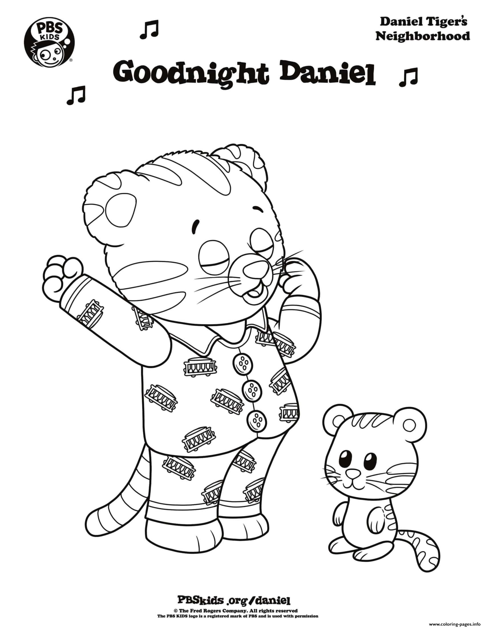 - Good Night Daniel Tiger Min Coloring Pages Printable