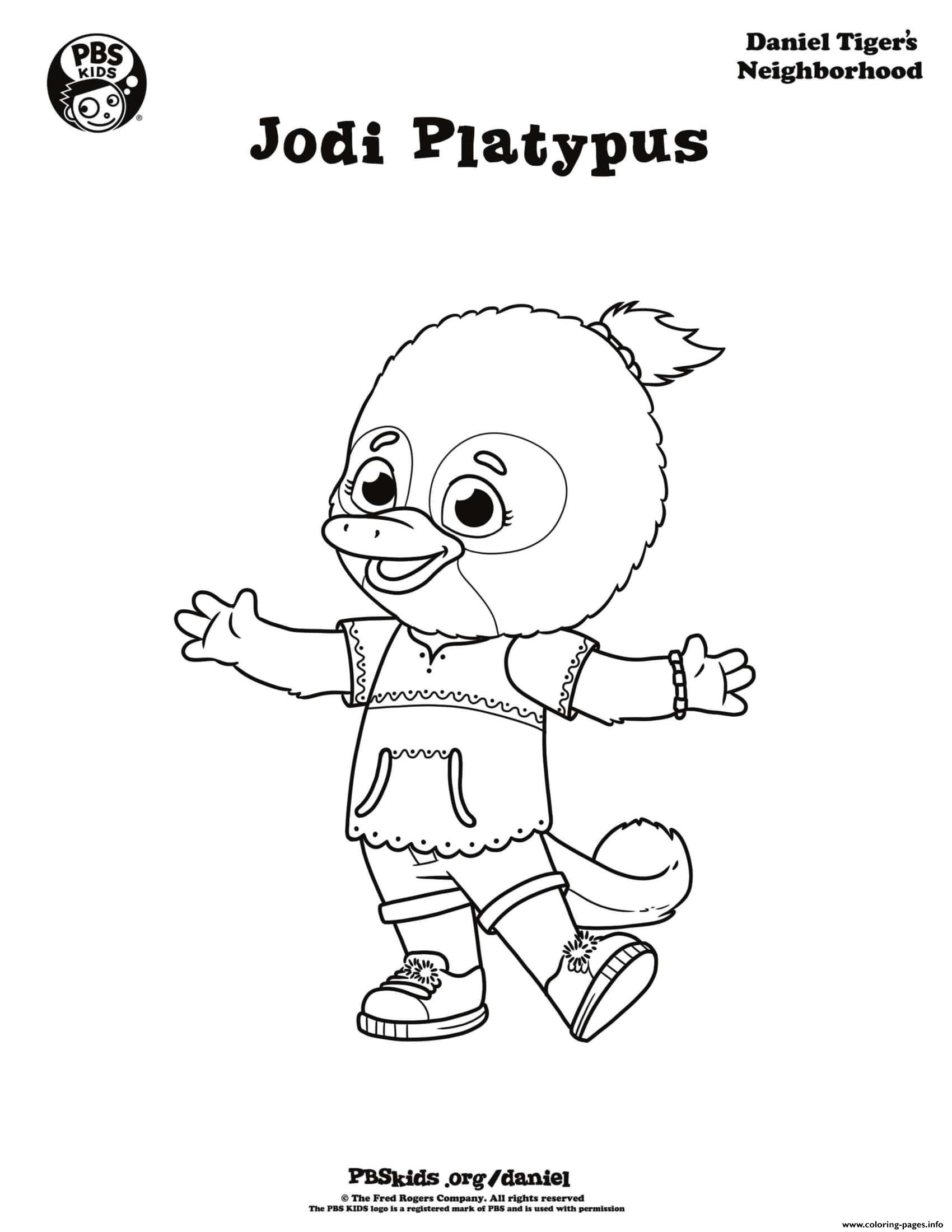 picture relating to Daniel Tiger Coloring Pages Printable named Jodi Platypus Daniel Tiger Min Coloring Internet pages Printable
