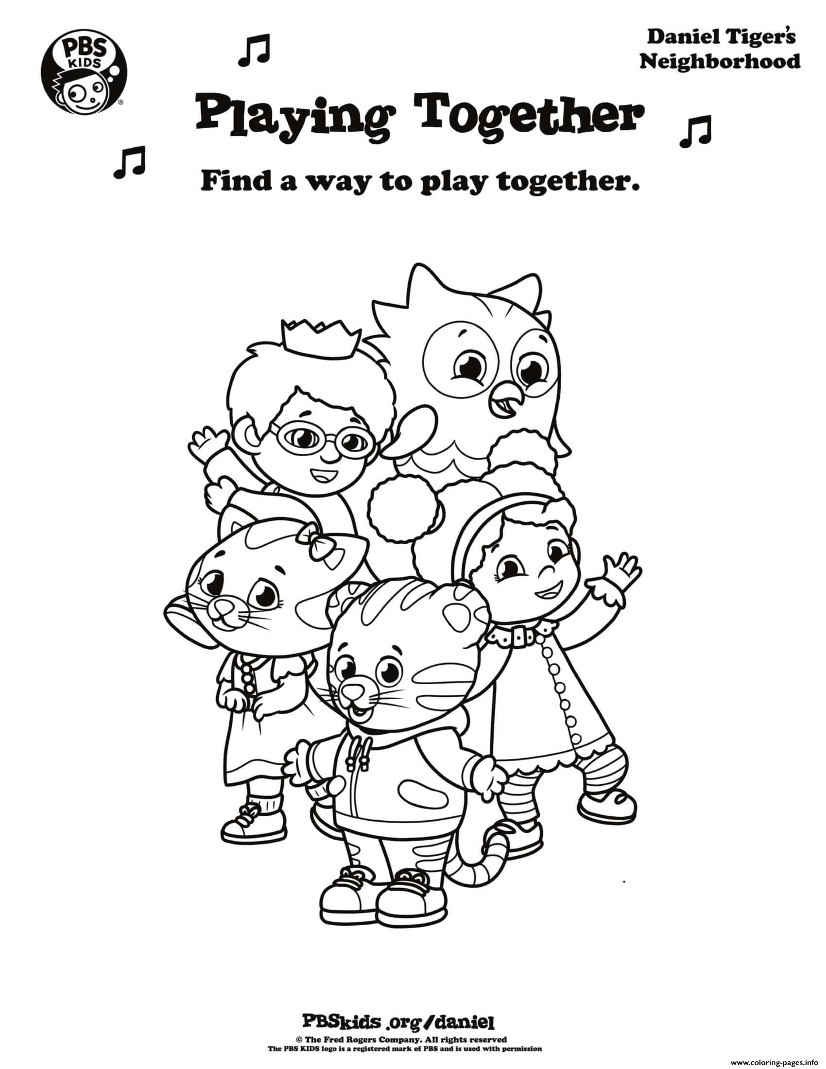 Playing Together Daniel Tiger Min Coloring Pages Printable
