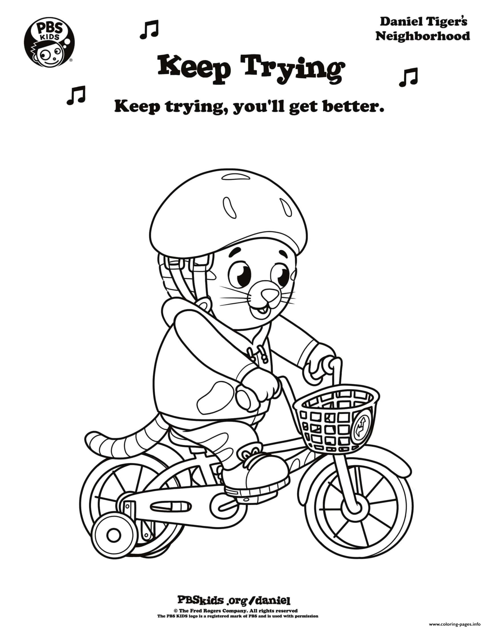 Keep Trying Daniel Tiger Min Coloring Pages Printable