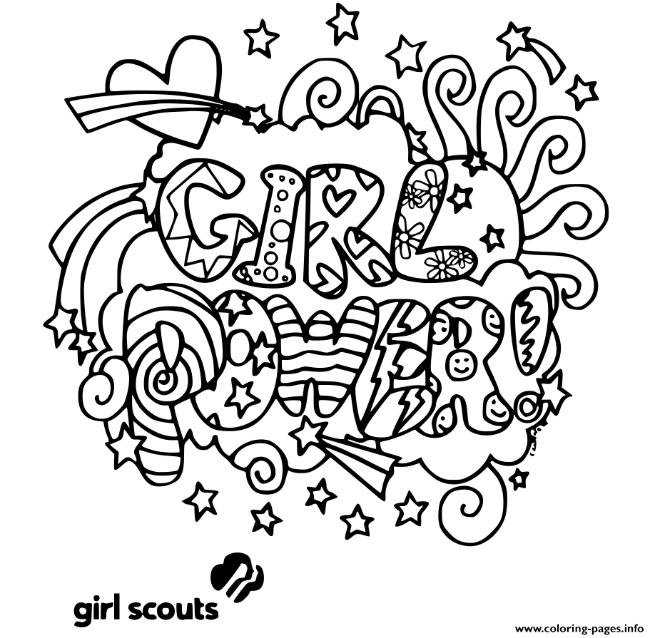 Girl Power Girls Scouts Coloring Pages Printable