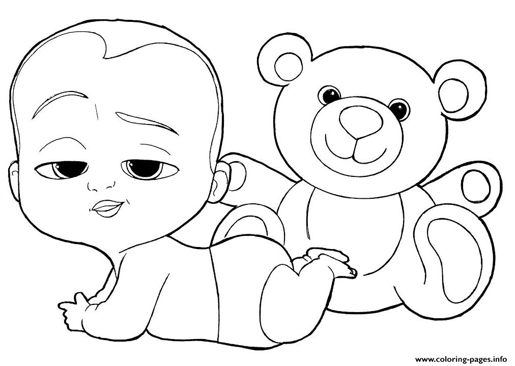 Boss Baby And Teddy Bear Coloring Pages Printable