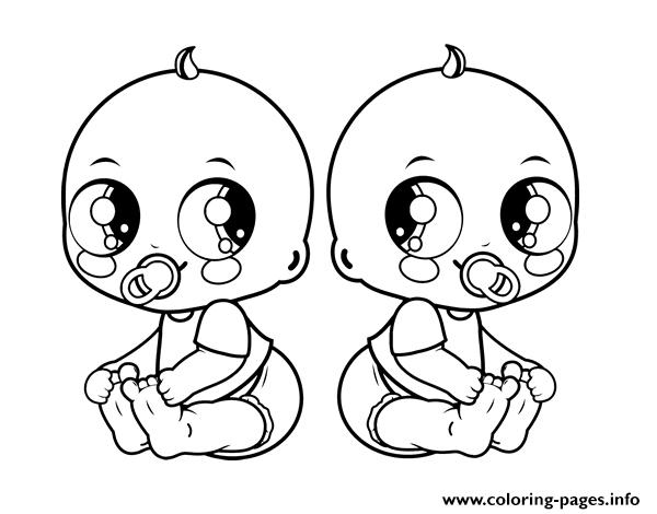 Baby Twins coloring pages