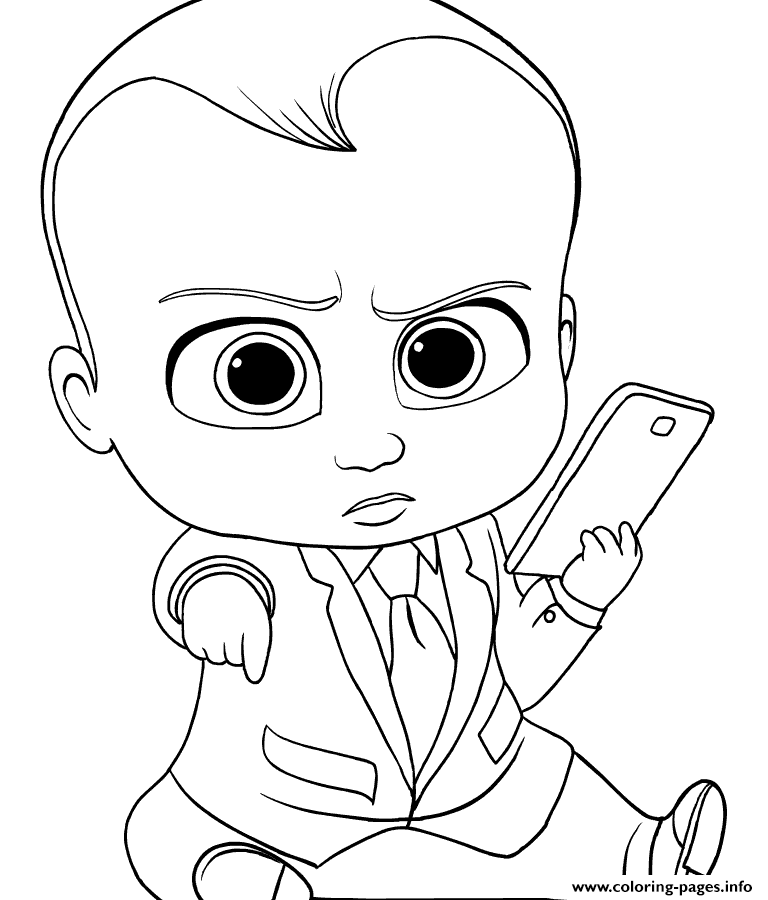 image about Boss Baby Printable named Manager Child With Cellular Mobile phone Coloring Web pages Printable