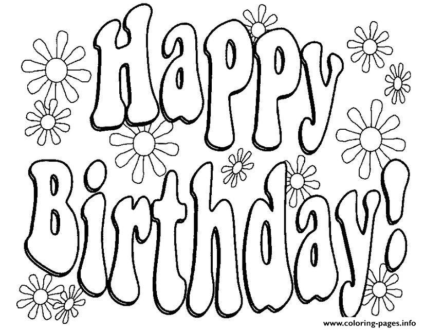Happy Birthday Flowers Text Coloring Pages Printable