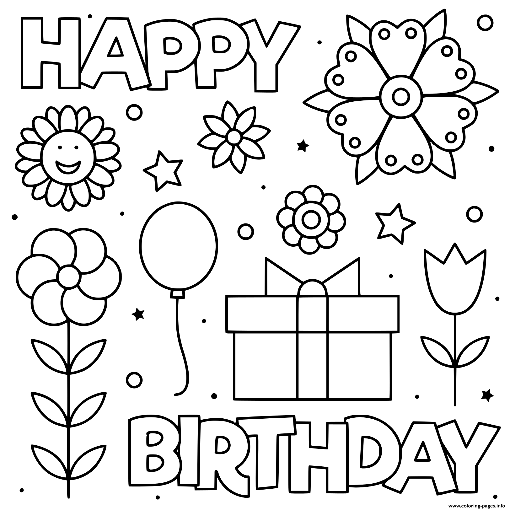 - Happy Birthday Black And White Flowers Coloring Pages Printable