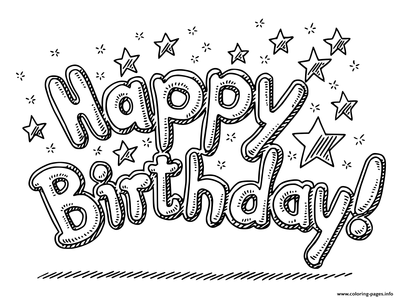 Happy Birthday Celebration Text And Stars Coloring Pages Printable