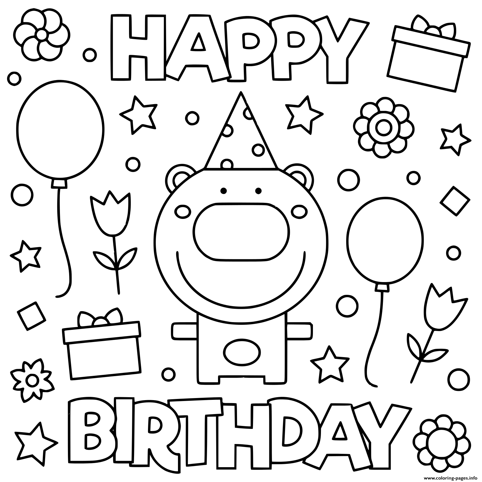 Happy Birthday Kids Fun Balloon Coloring Pages Printable